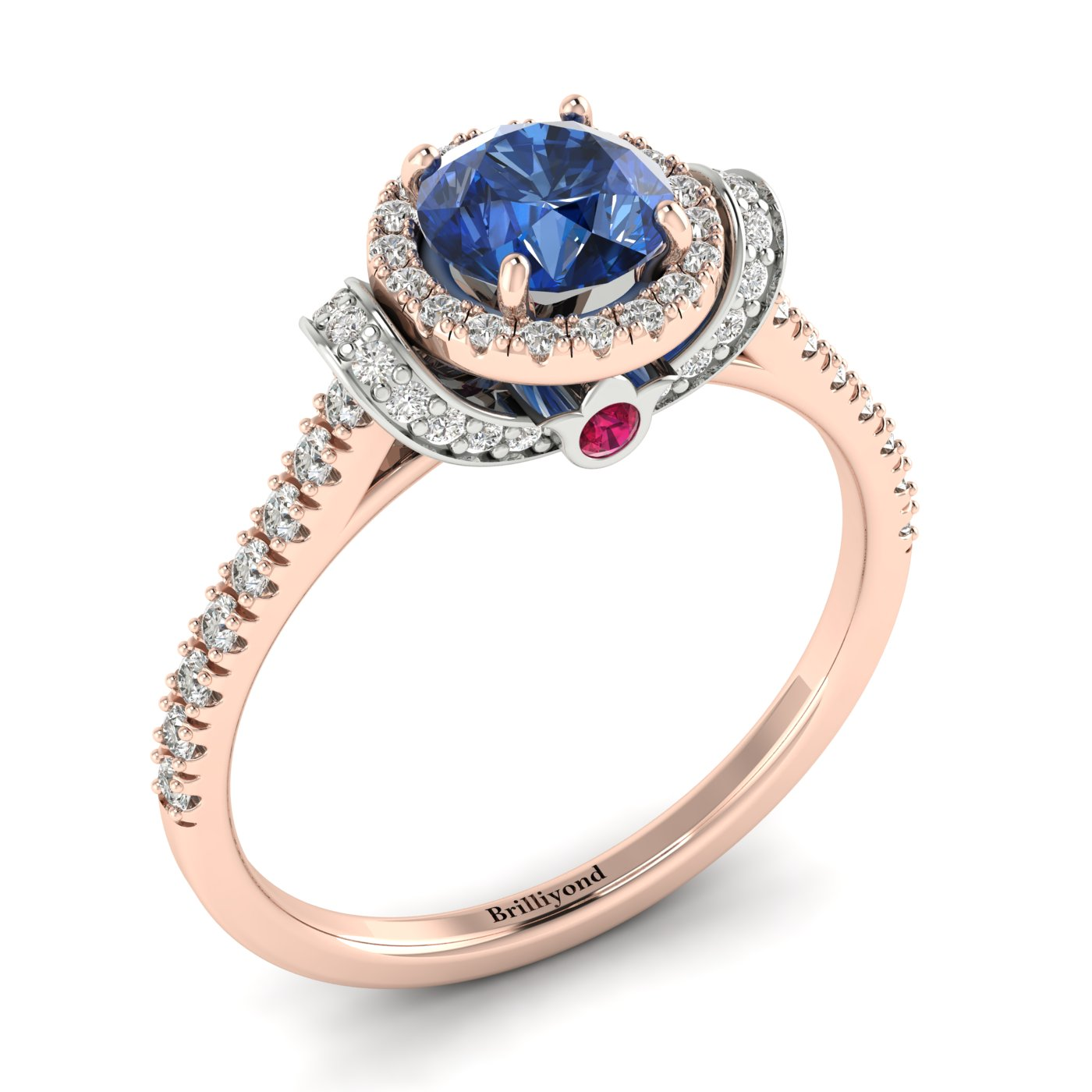 Blue Sapphire Rose Gold Two Tone Engagement Ring Helen_image1