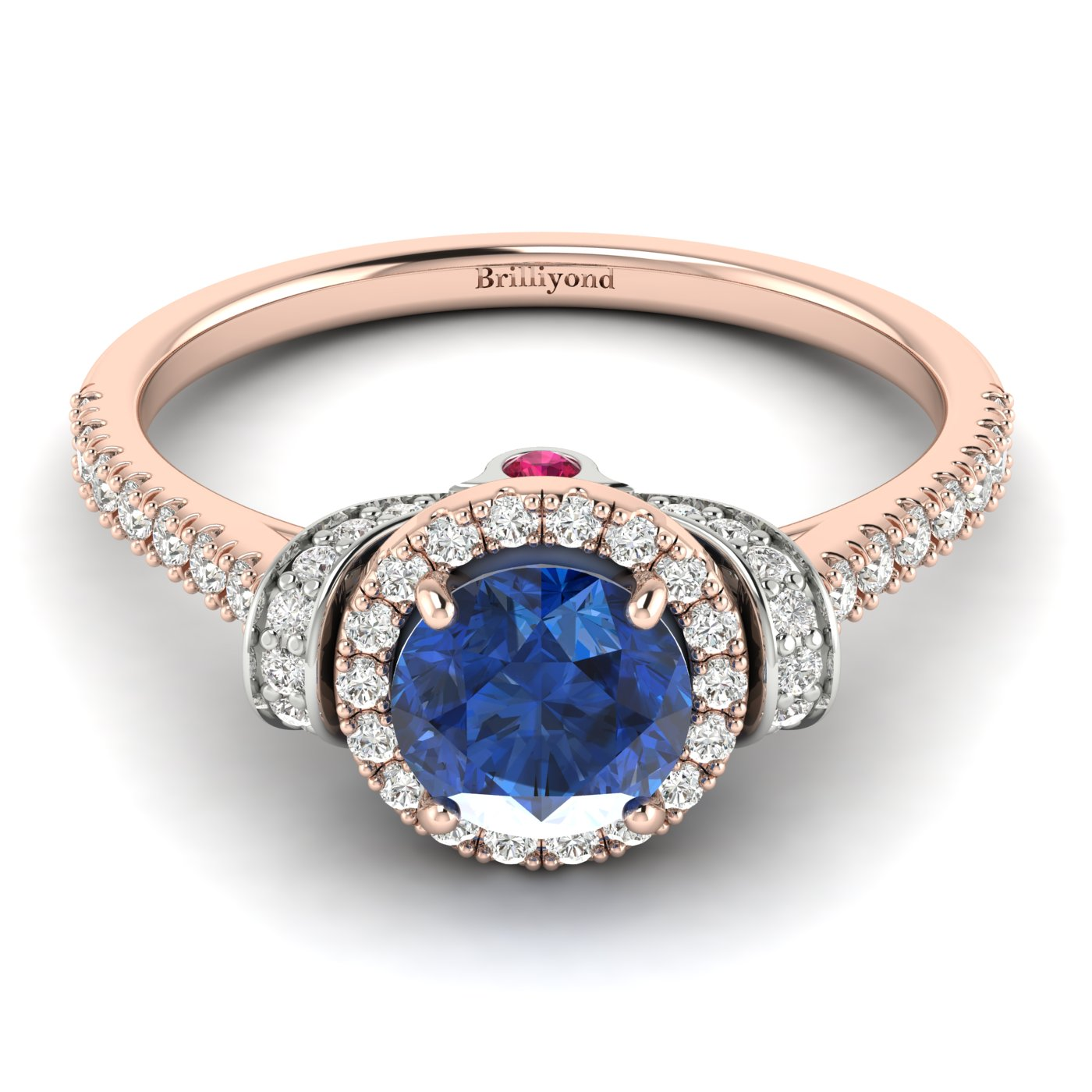 Blue Sapphire Rose Gold Two Tone Engagement Ring Helen_image2
