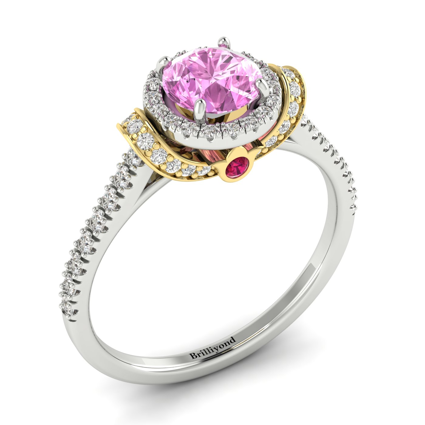 Pink Sapphire White Gold Two Tone Engagement Ring Helen_image1