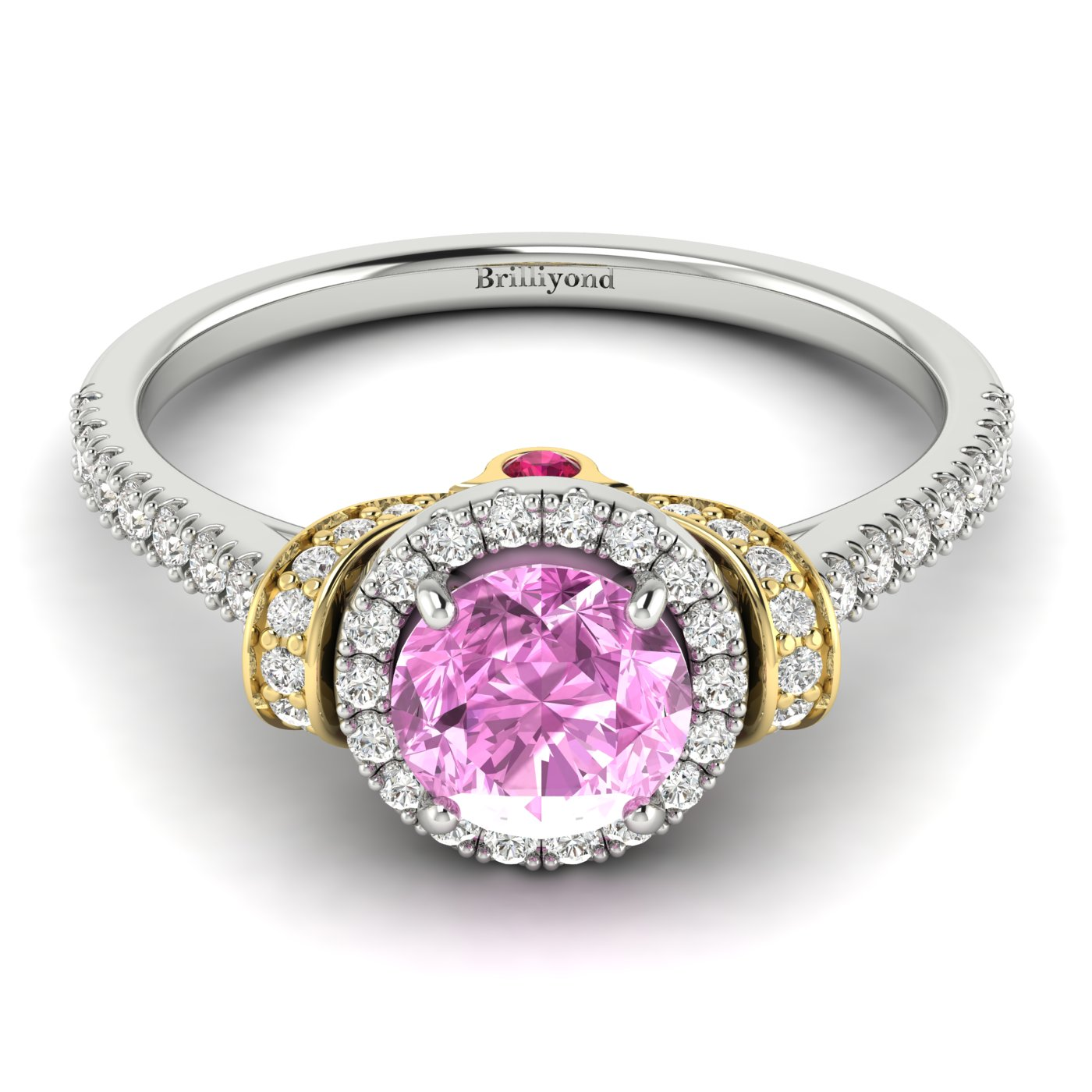Pink Sapphire White Gold Two Tone Engagement Ring Helen_image2