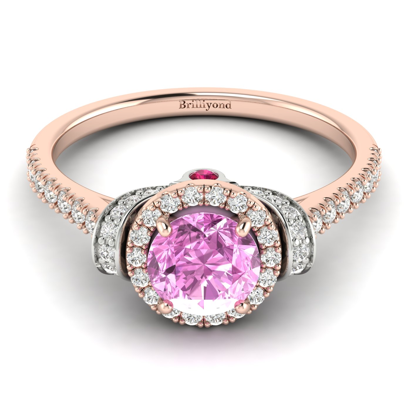 Pink Sapphire Rose Gold Two Tone Engagement Ring Helen_image1