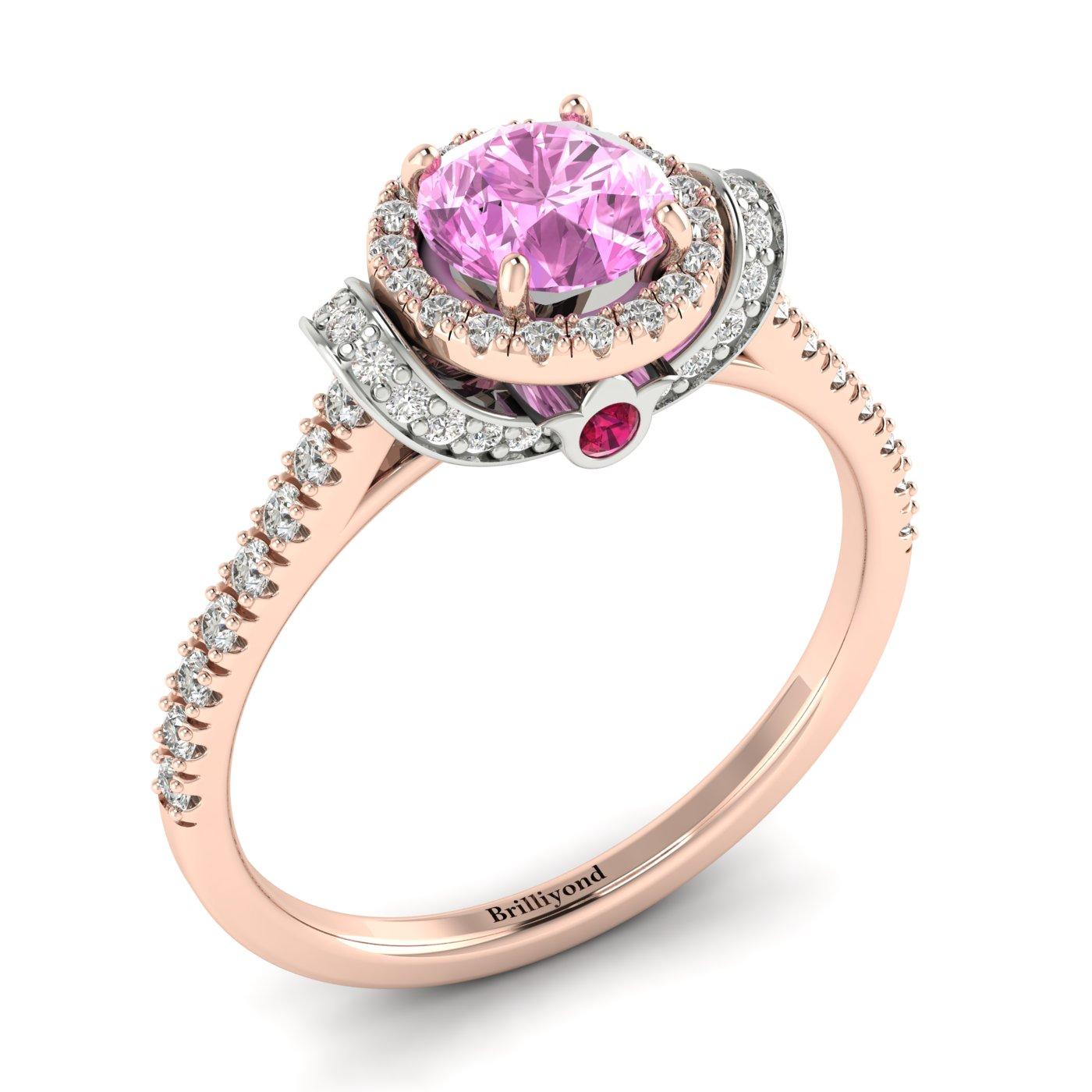 Pink Sapphire Rose Gold Two Tone Engagement Ring Helen_image2