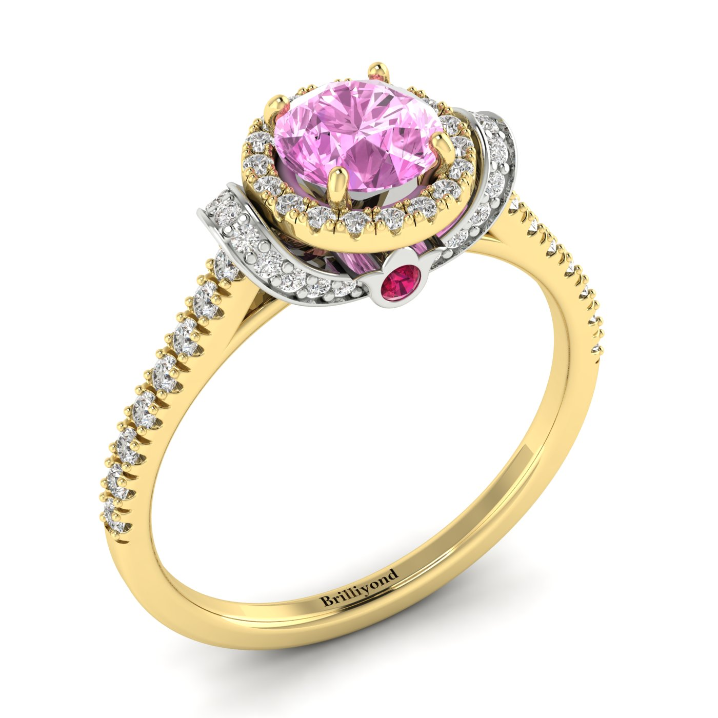 Pink Sapphire Yellow Gold Two Tone Engagement Ring Helen