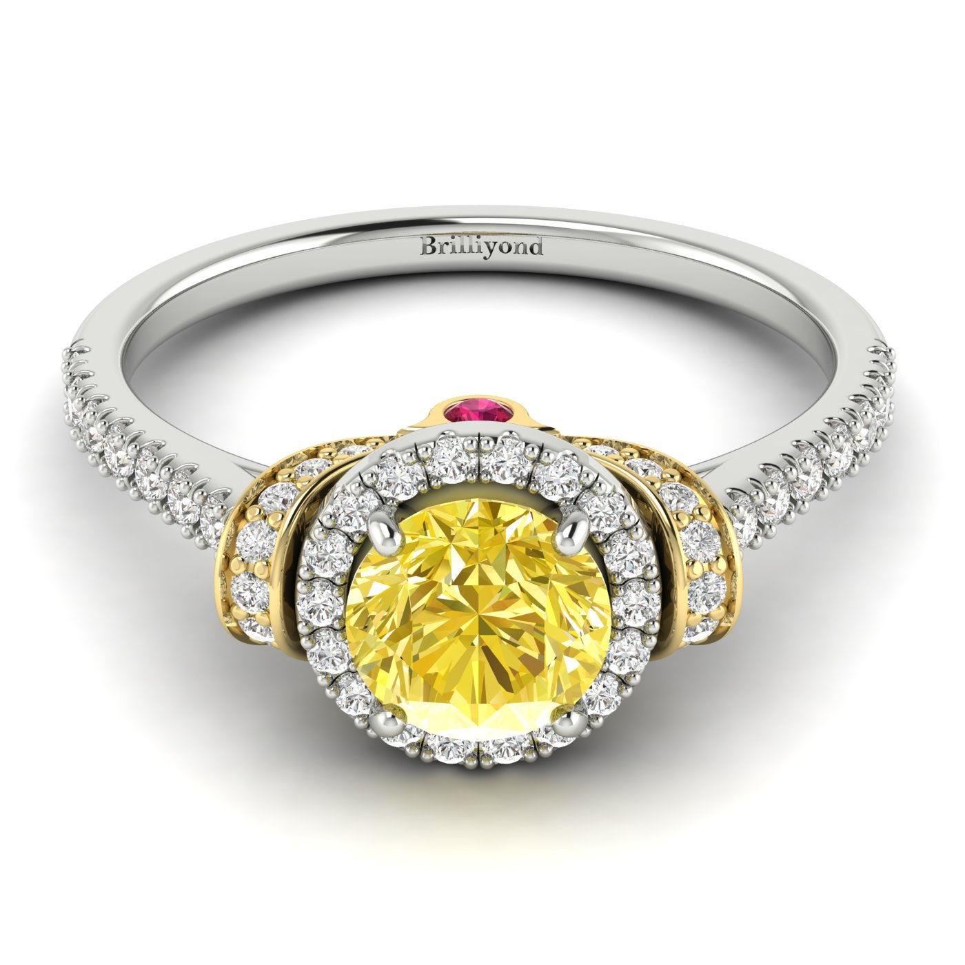 Yellow Sapphire White Gold Two Tone Engagement Ring Helen_image1