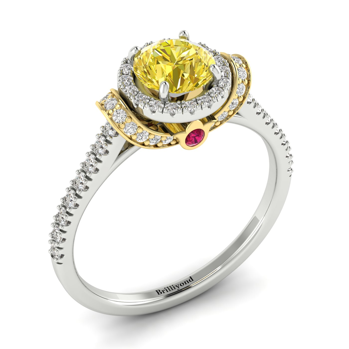 Yellow Sapphire White Gold Two Tone Engagement Ring Helen_image2