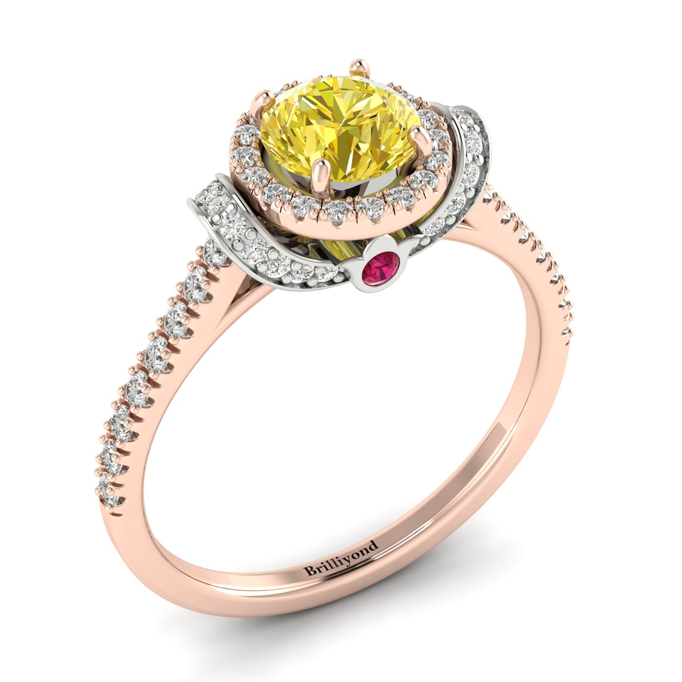 Yellow Sapphire Rose Gold Two Tone Engagement Ring Helen_image1