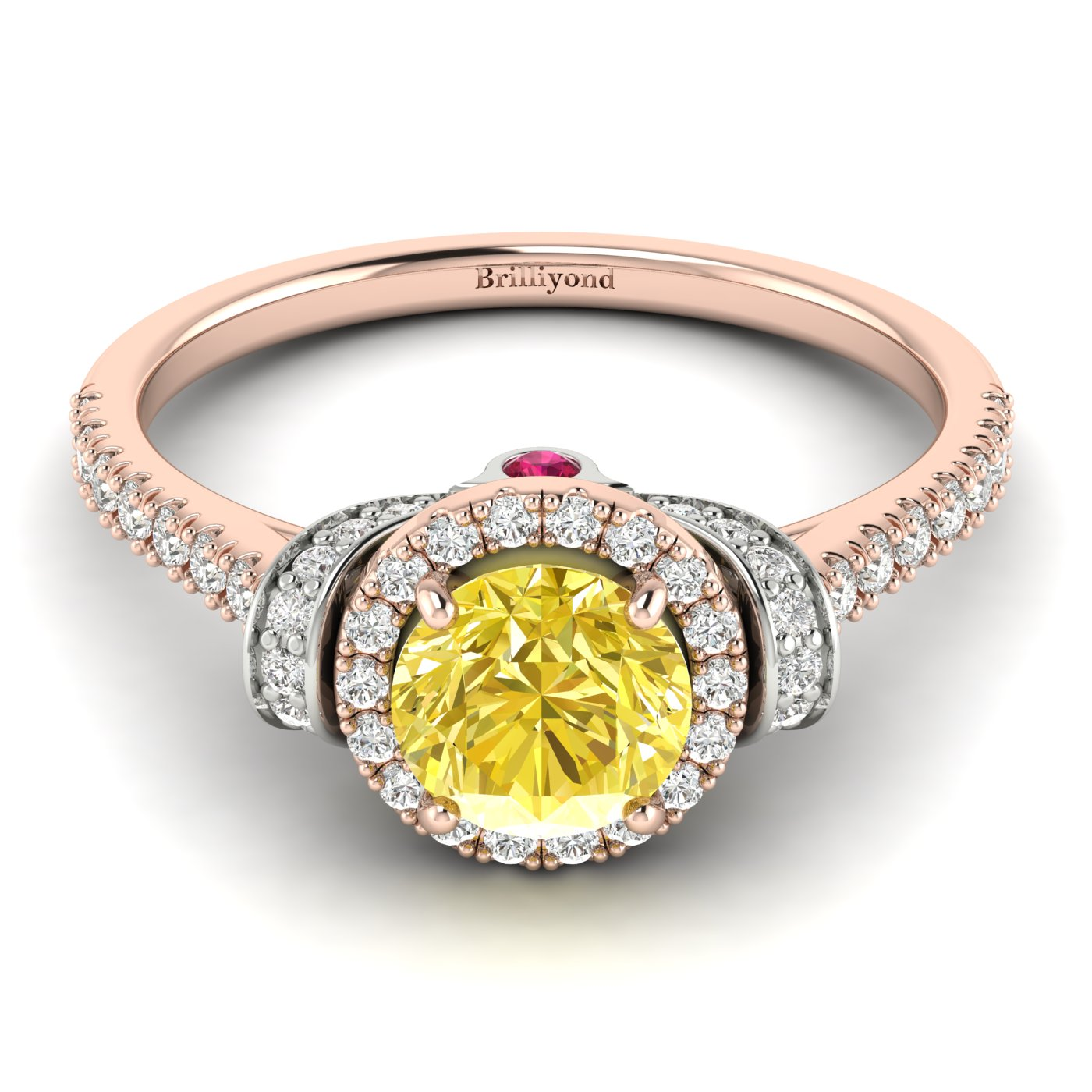 Yellow Sapphire Rose Gold Two Tone Engagement Ring Helen_image2