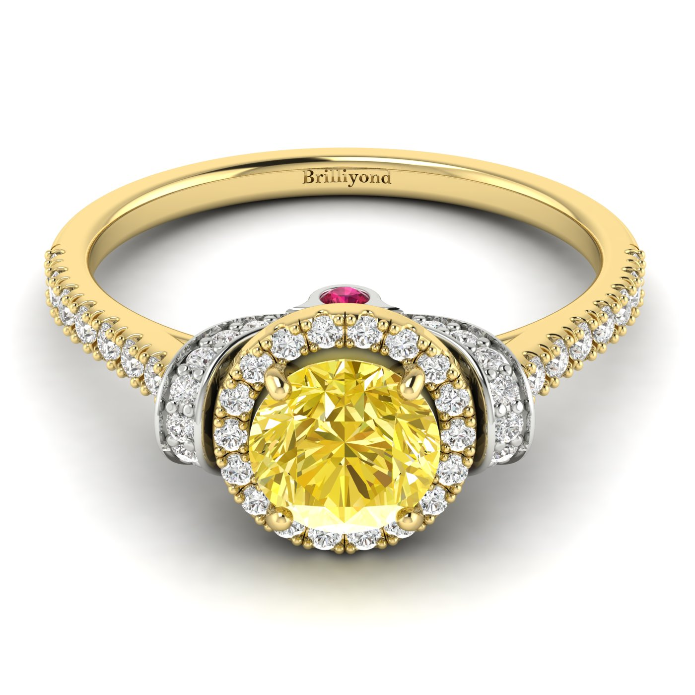 Yellow Sapphire Yellow Gold Two Tone Engagement Ring Helen_image1
