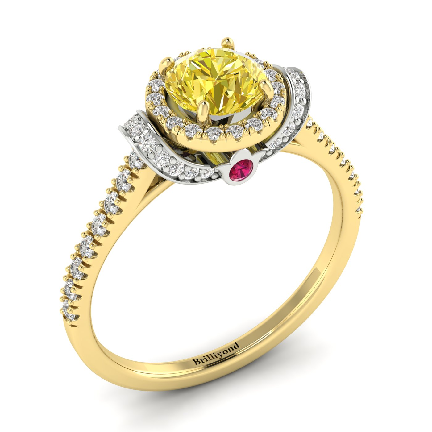 Yellow Sapphire Yellow Gold Two Tone Engagement Ring Helen_image2
