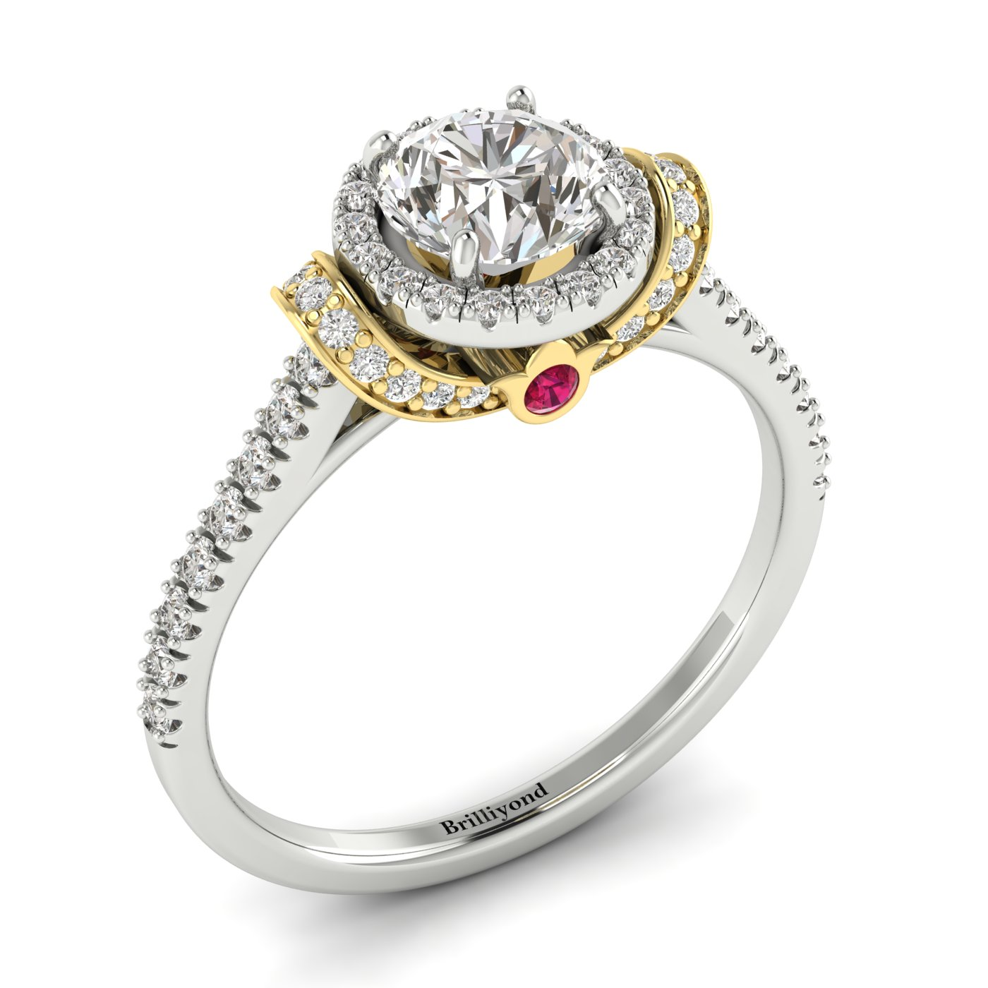 White Sapphire White Gold Two Tone Engagement Ring Helen_image1