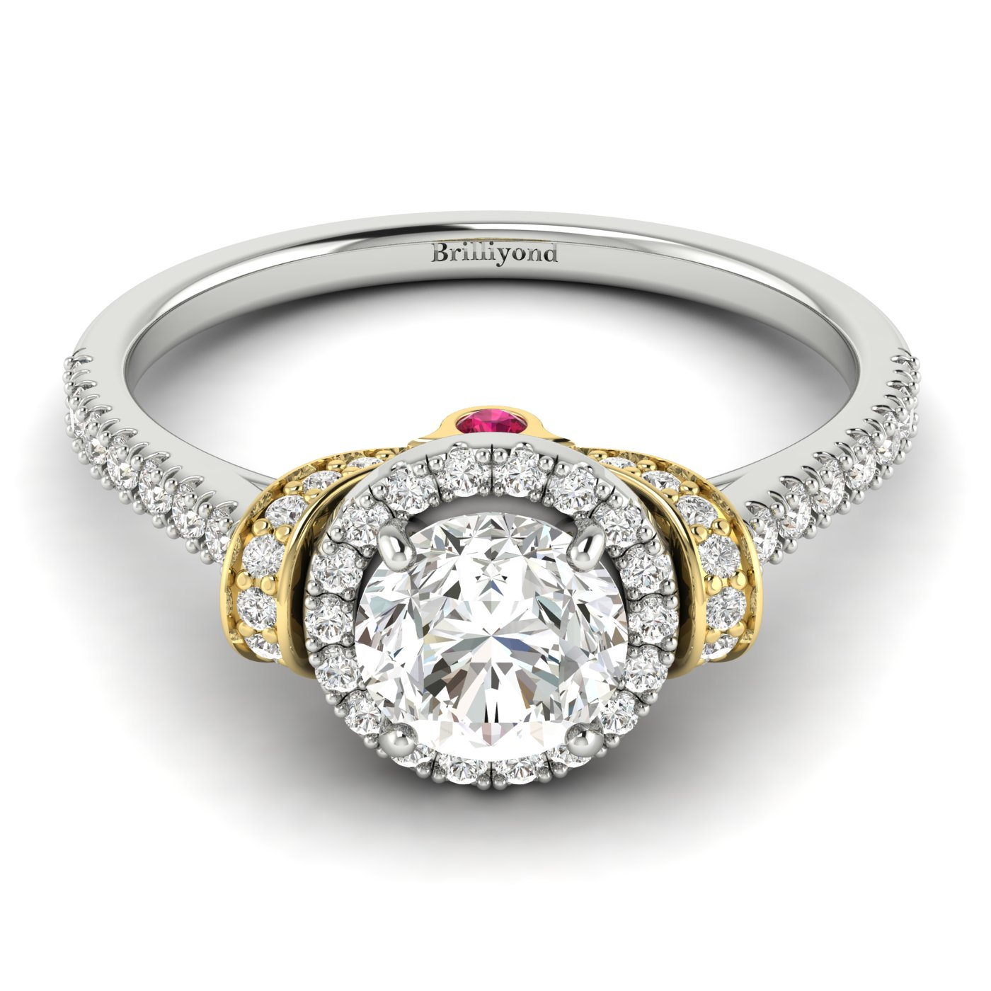 White Sapphire White Gold Two Tone Engagement Ring Helen_image2