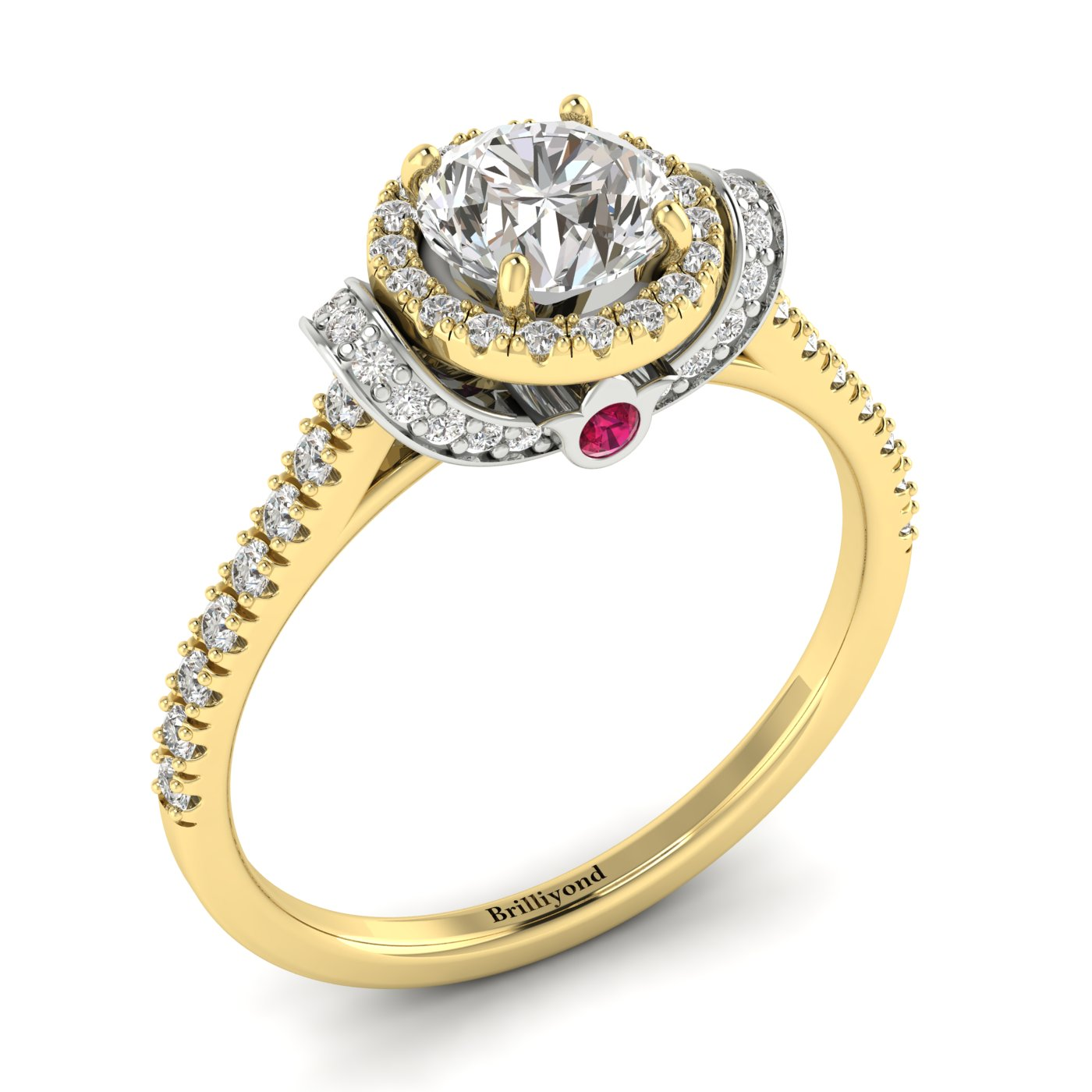 White Sapphire Yellow Gold Two Tone Engagement Ring Helen_image1
