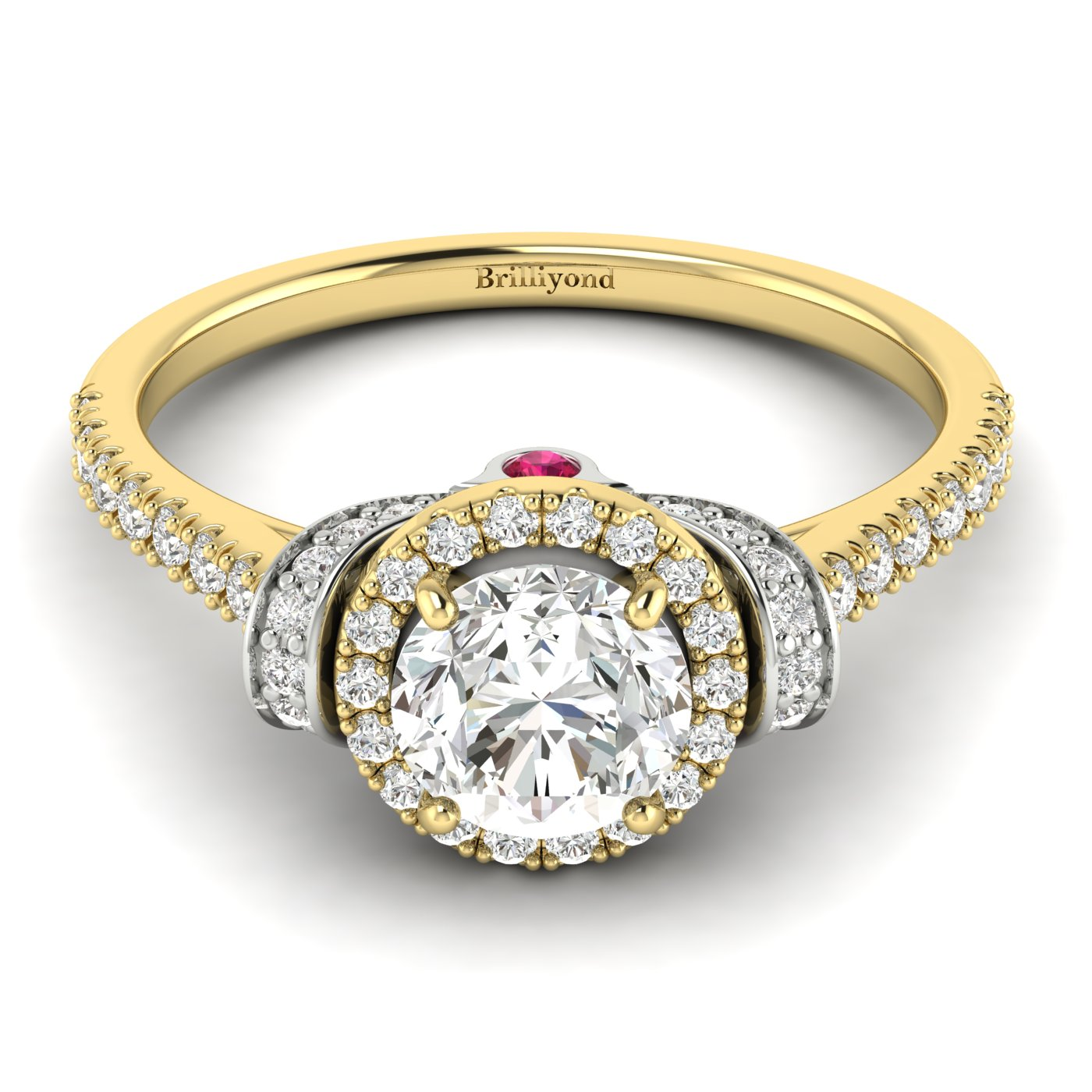 White Sapphire Yellow Gold Two Tone Engagement Ring Helen_image2