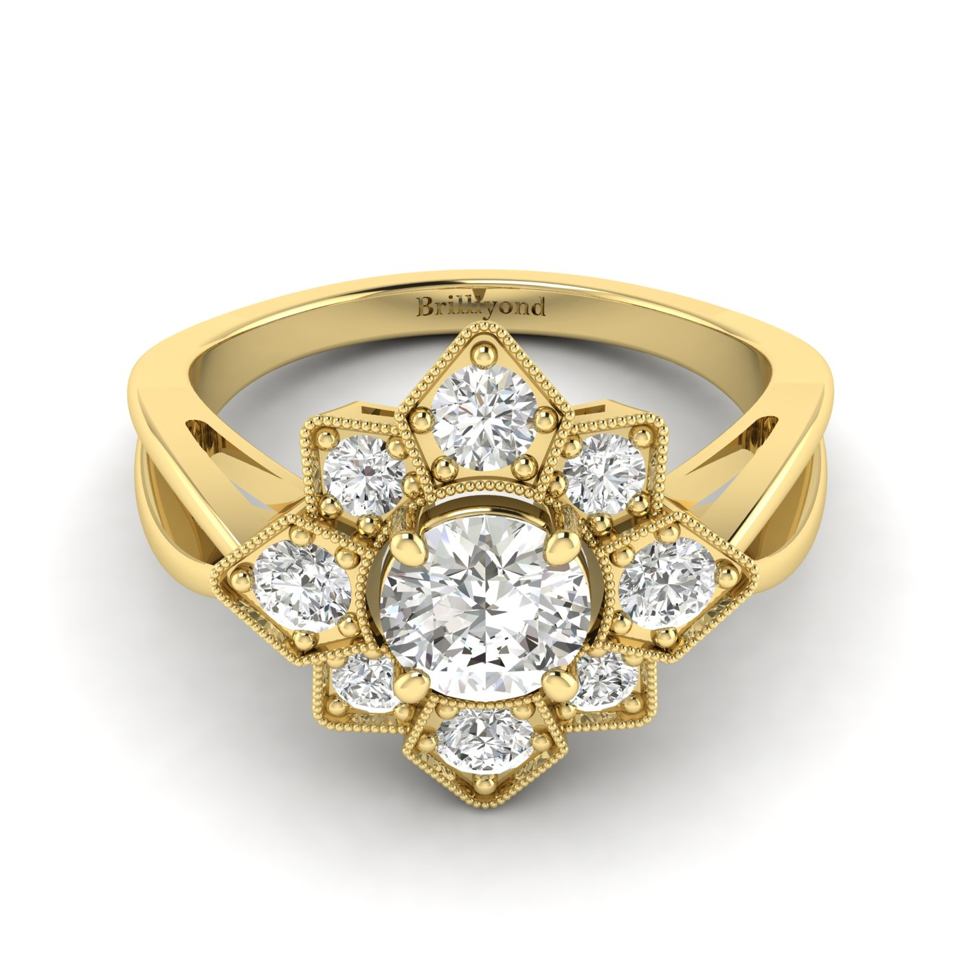 Diamond Yellow Gold Cluster Engagement Ring Madonna_image1