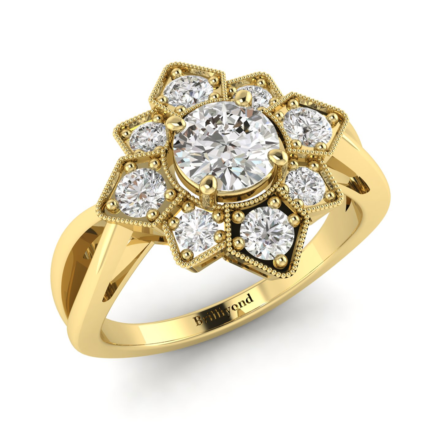 Diamond Yellow Gold Cluster Engagement Ring Madonna_image2