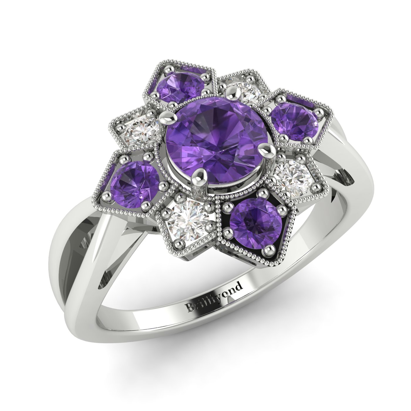 Amethyst White Gold Cluster Engagement Ring Madonna_image1