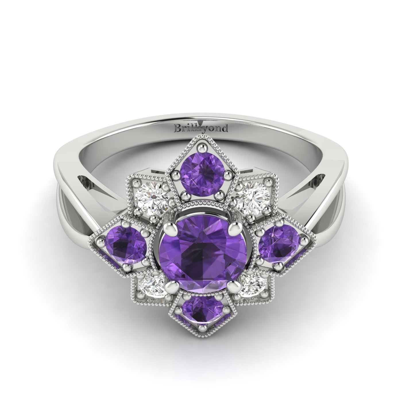 Amethyst White Gold Cluster Engagement Ring Madonna_image2