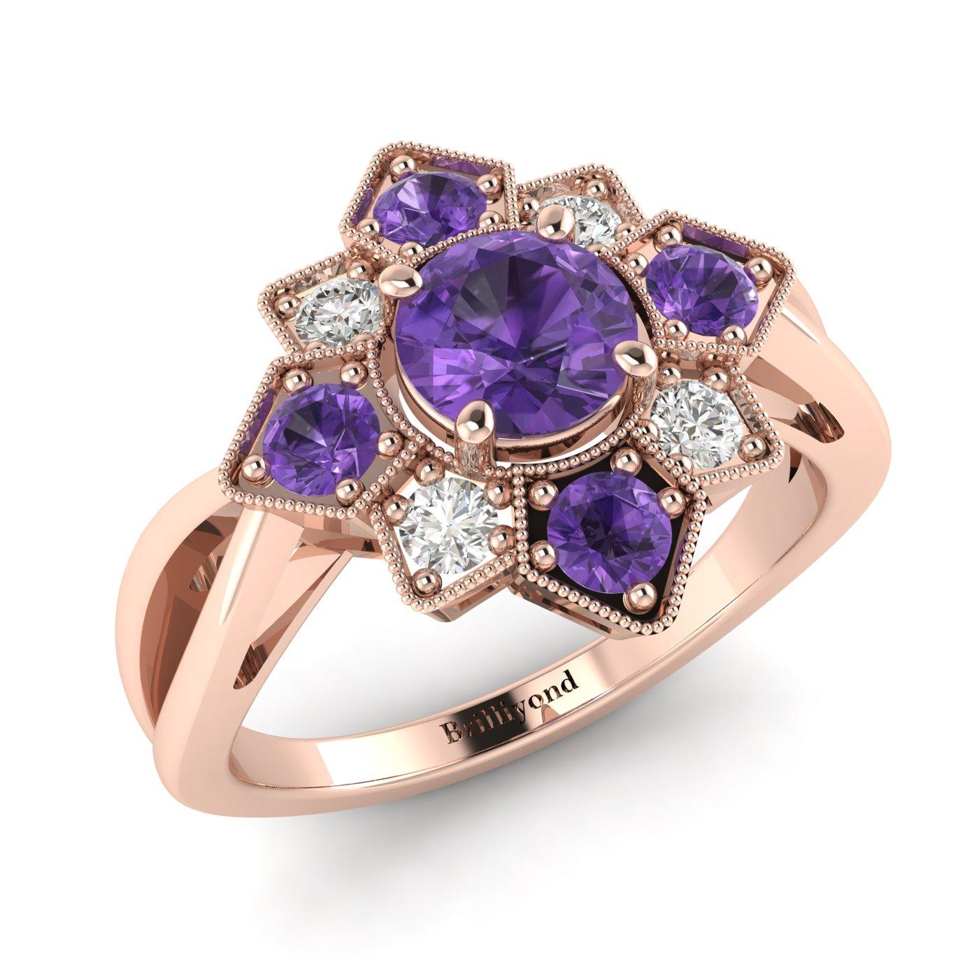 Amethyst Rose Gold Cluster Engagement Ring Madonna