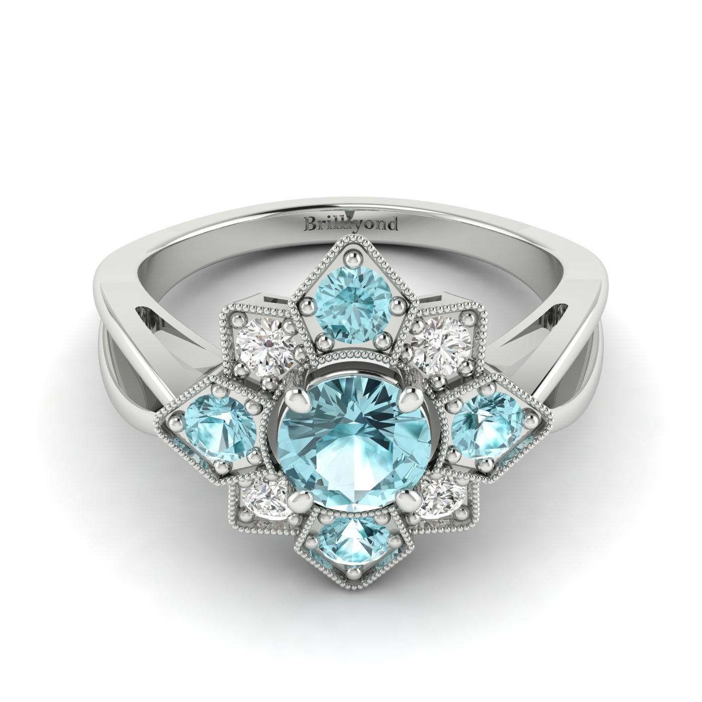 Aquamarine White Gold Cluster Engagement Ring Madonna_image1