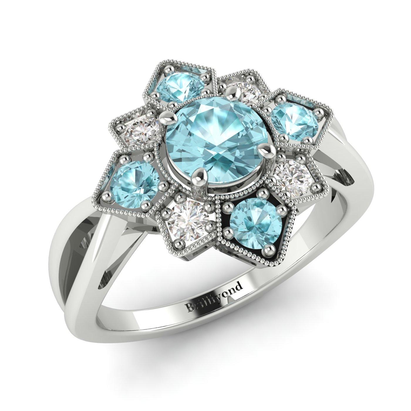 Aquamarine White Gold Cluster Engagement Ring Madonna_image2