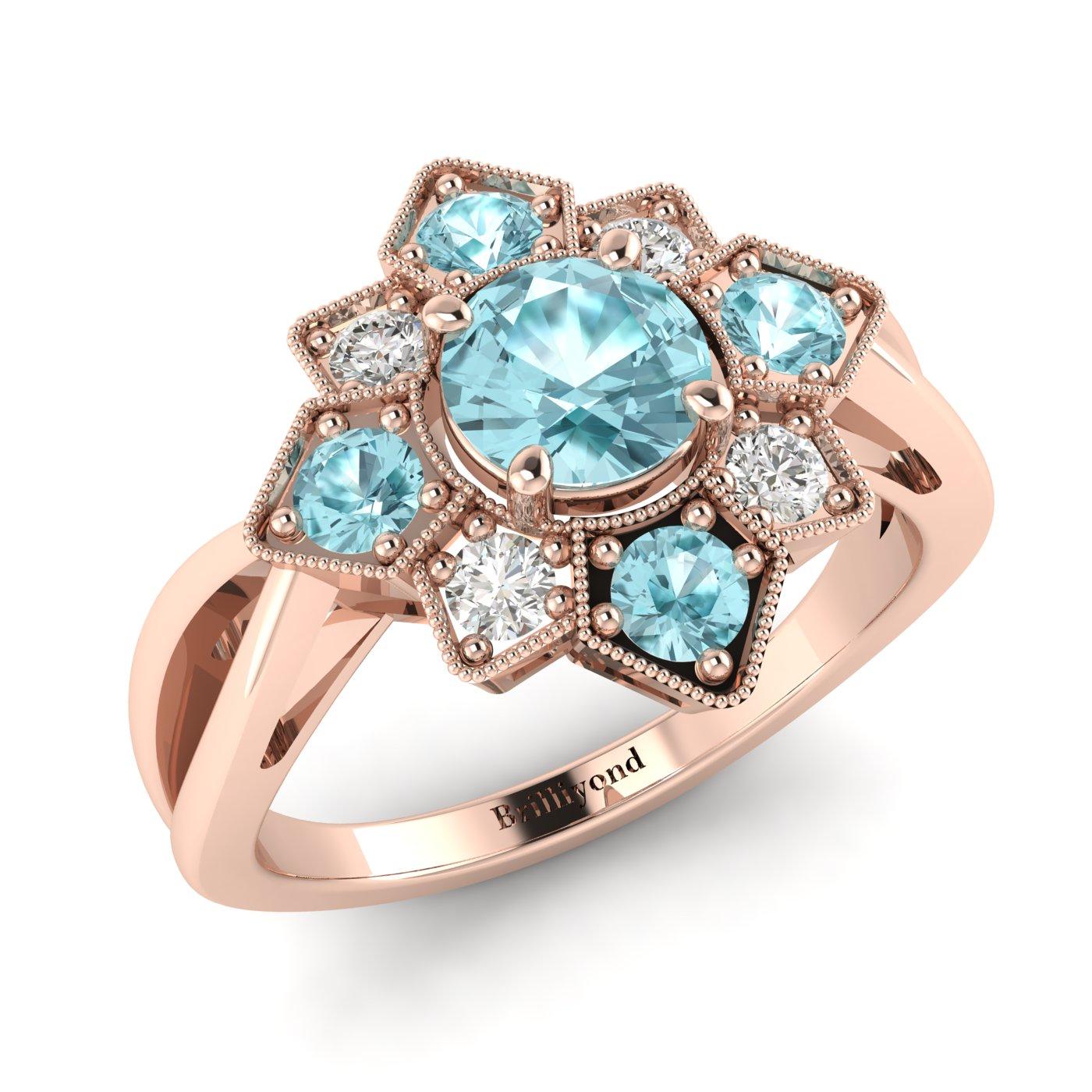 Aquamarine Rose Gold Cluster Engagement Ring Madonna_image1
