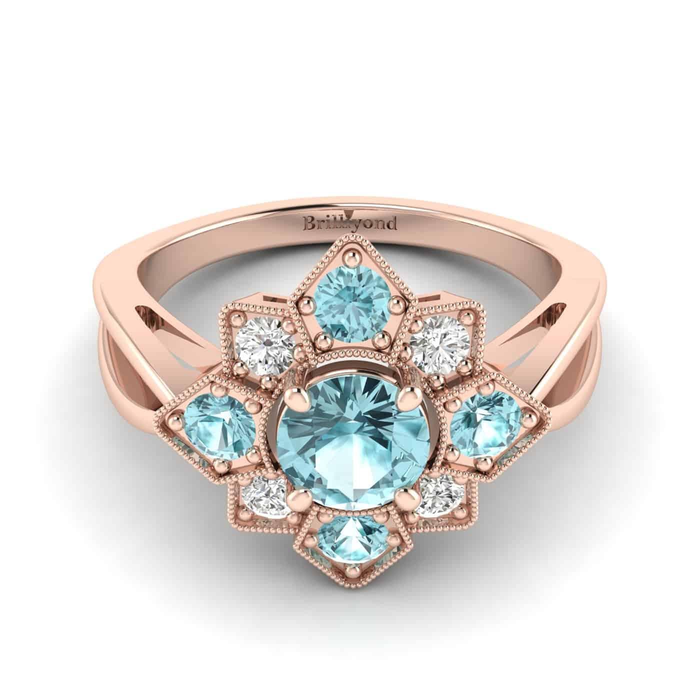 Aquamarine Rose Gold Cluster Engagement Ring Madonna_image2