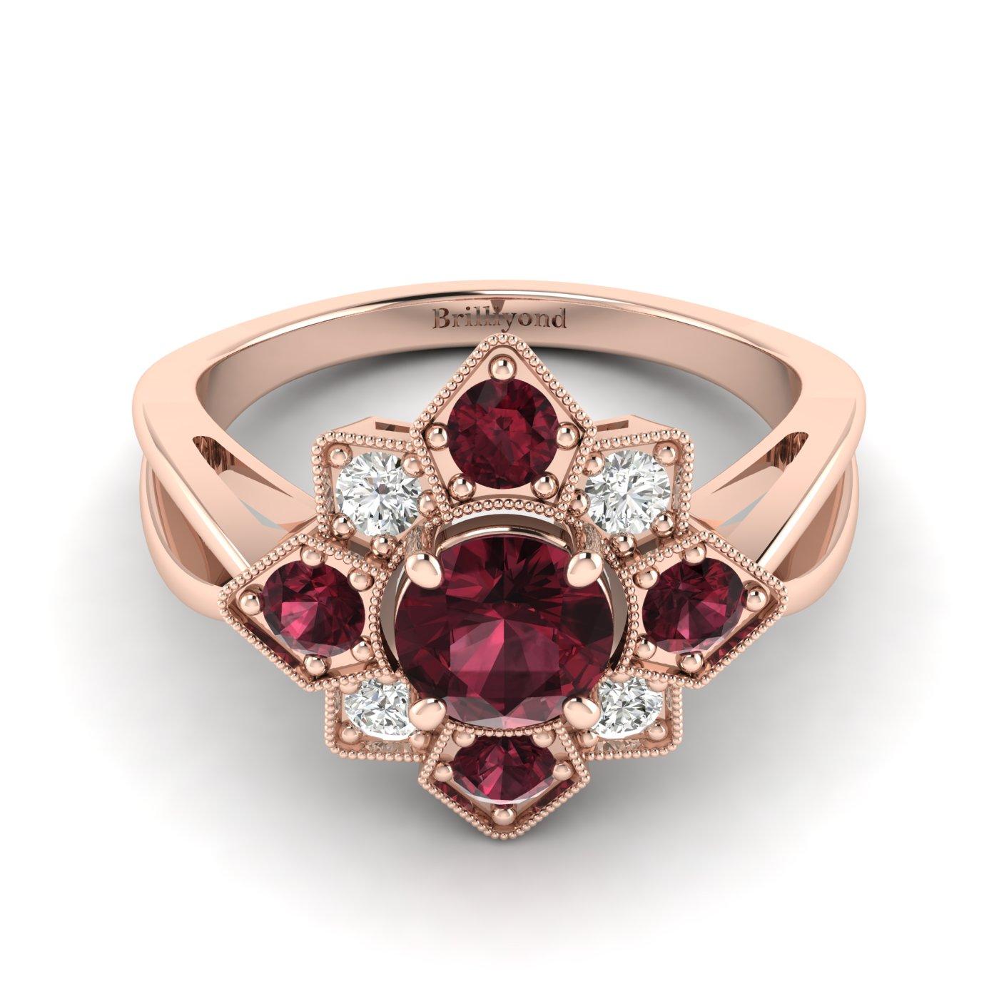 Garnet Rose Gold Cluster Engagement Ring Madonna_image1