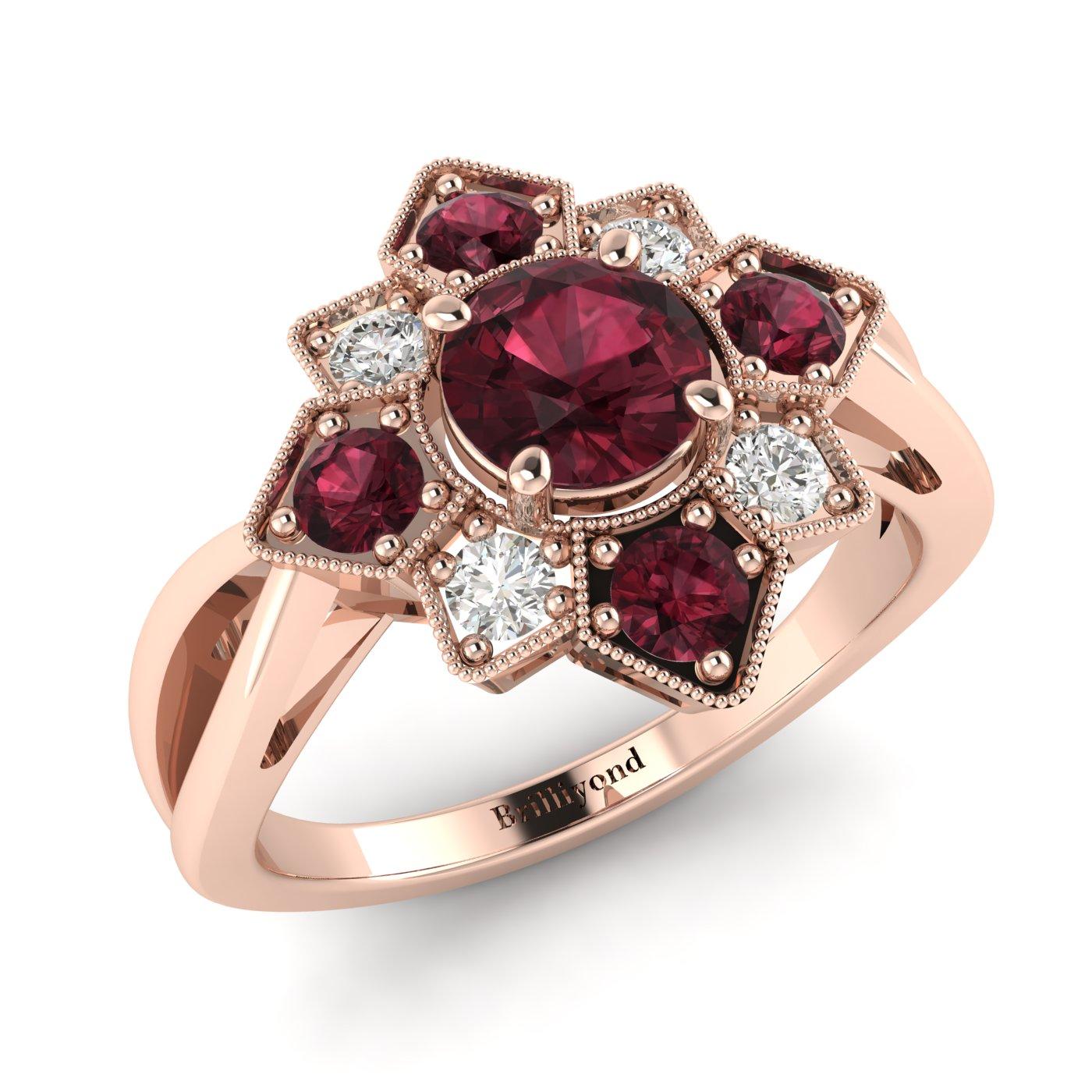 Garnet Ring Rose Gold Cluster Madonna