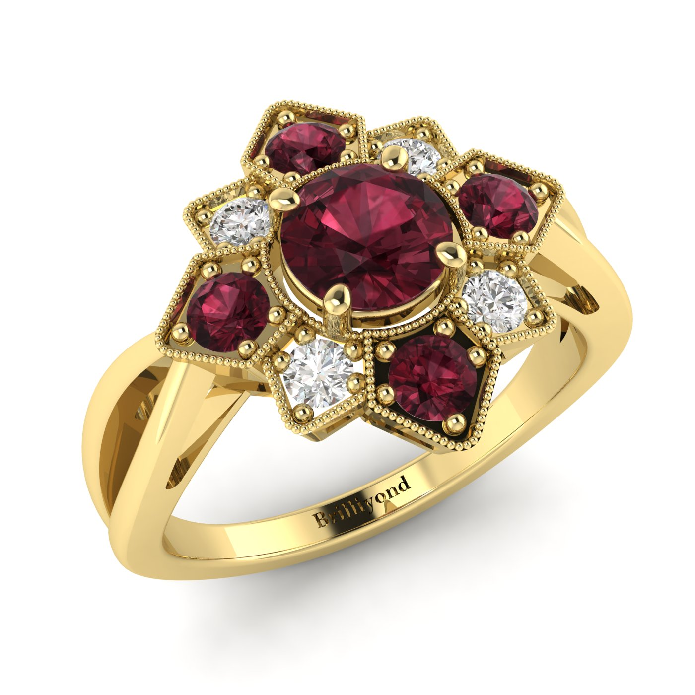 Red Garnets on 18k Yellow Gold Band with CZ Accents