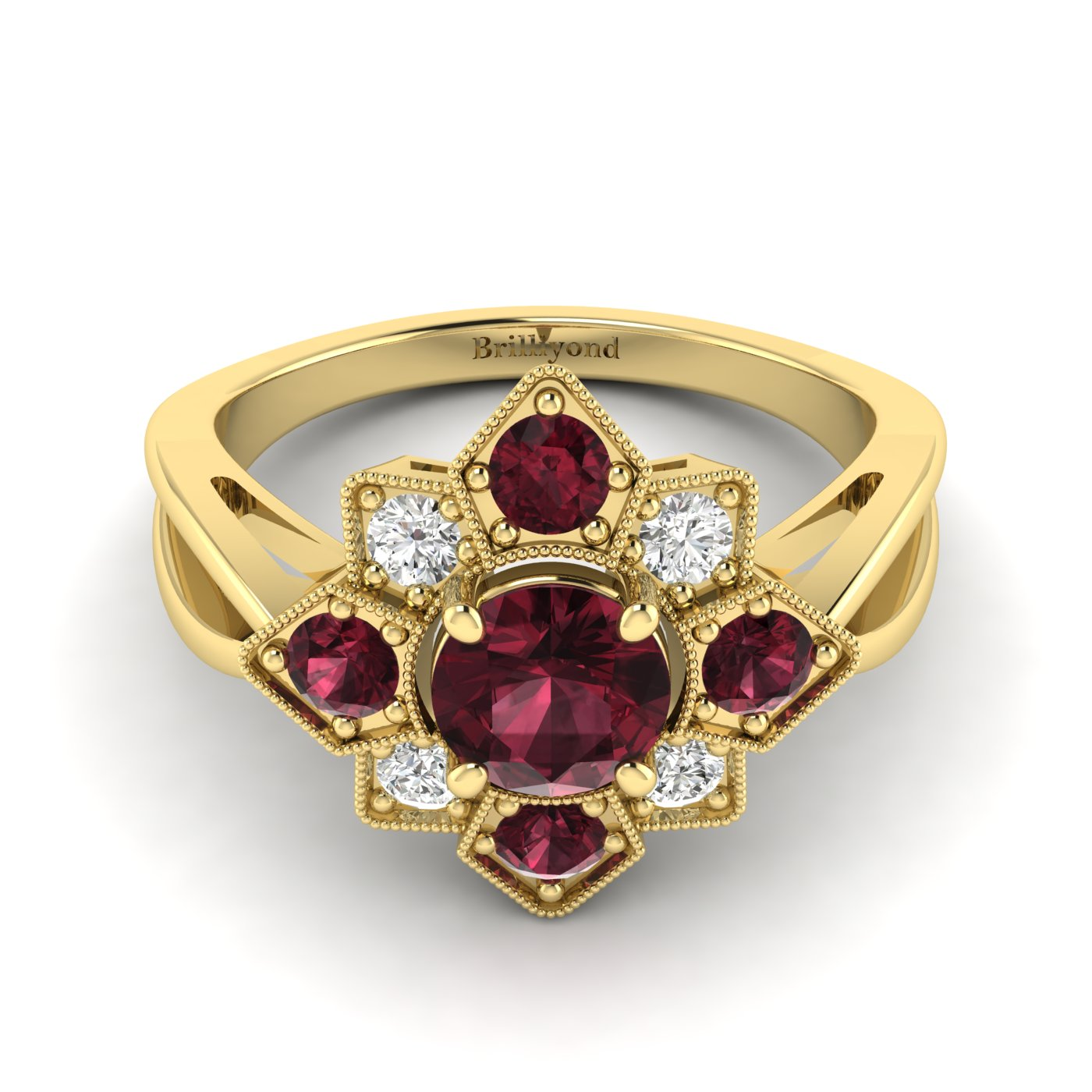 18k Yellow Gold Engagement Ring with CZ and Garnet Gemstones