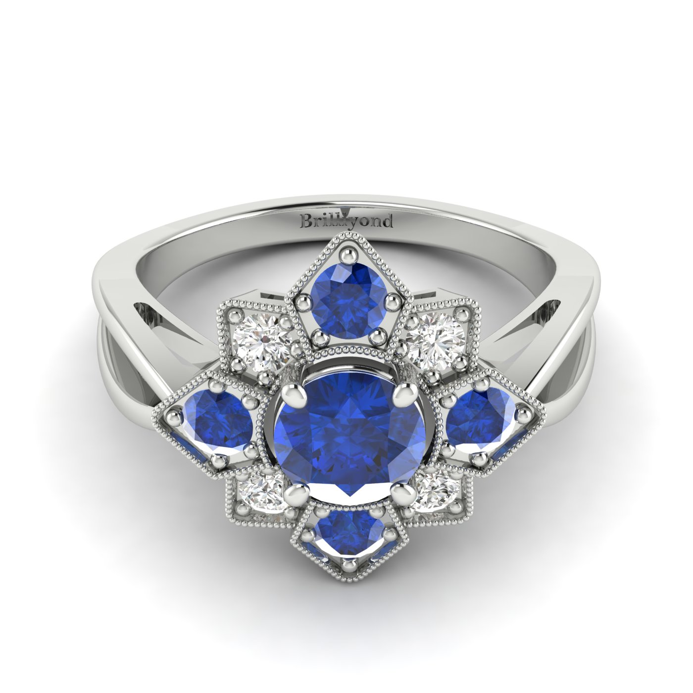 Blue Sapphire White Gold Cluster Engagement Ring Madonna_image1