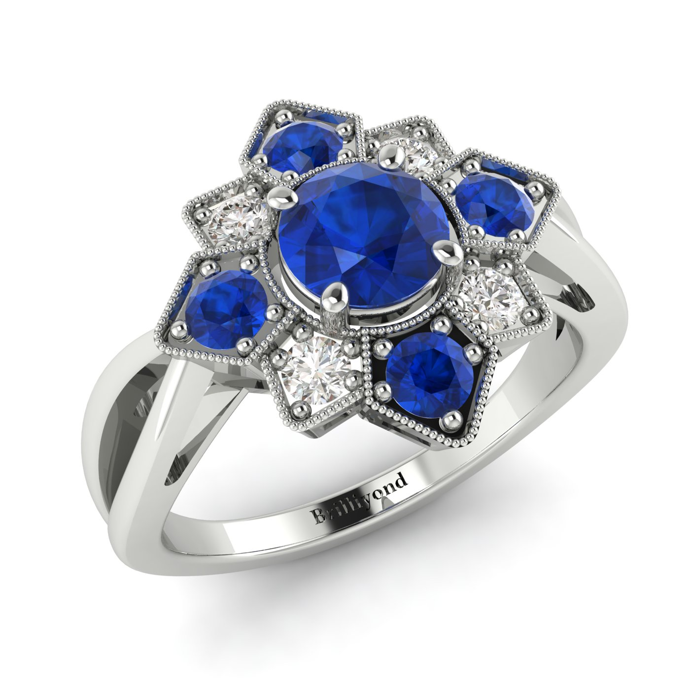 Blue Sapphire White Gold Cluster Engagement Ring Madonna_image2
