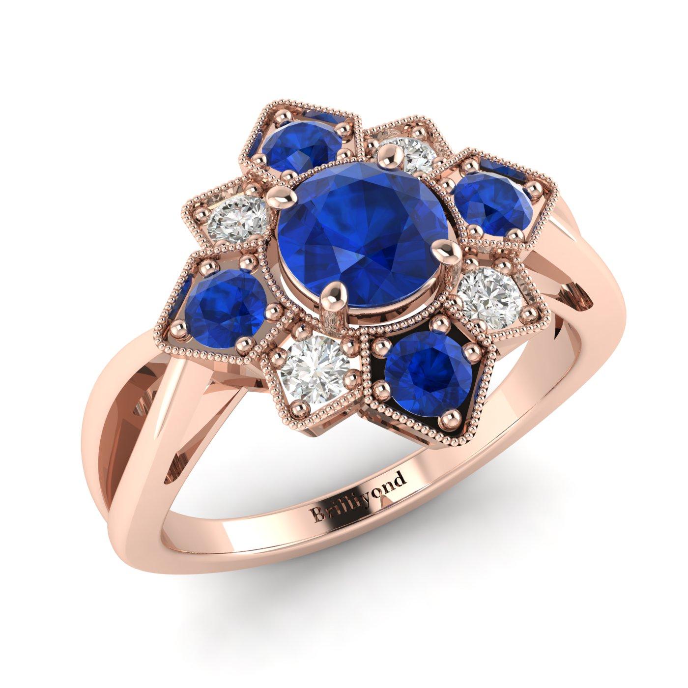 Blue Sapphire Rose Gold Cluster Engagement Ring Madonna_image1