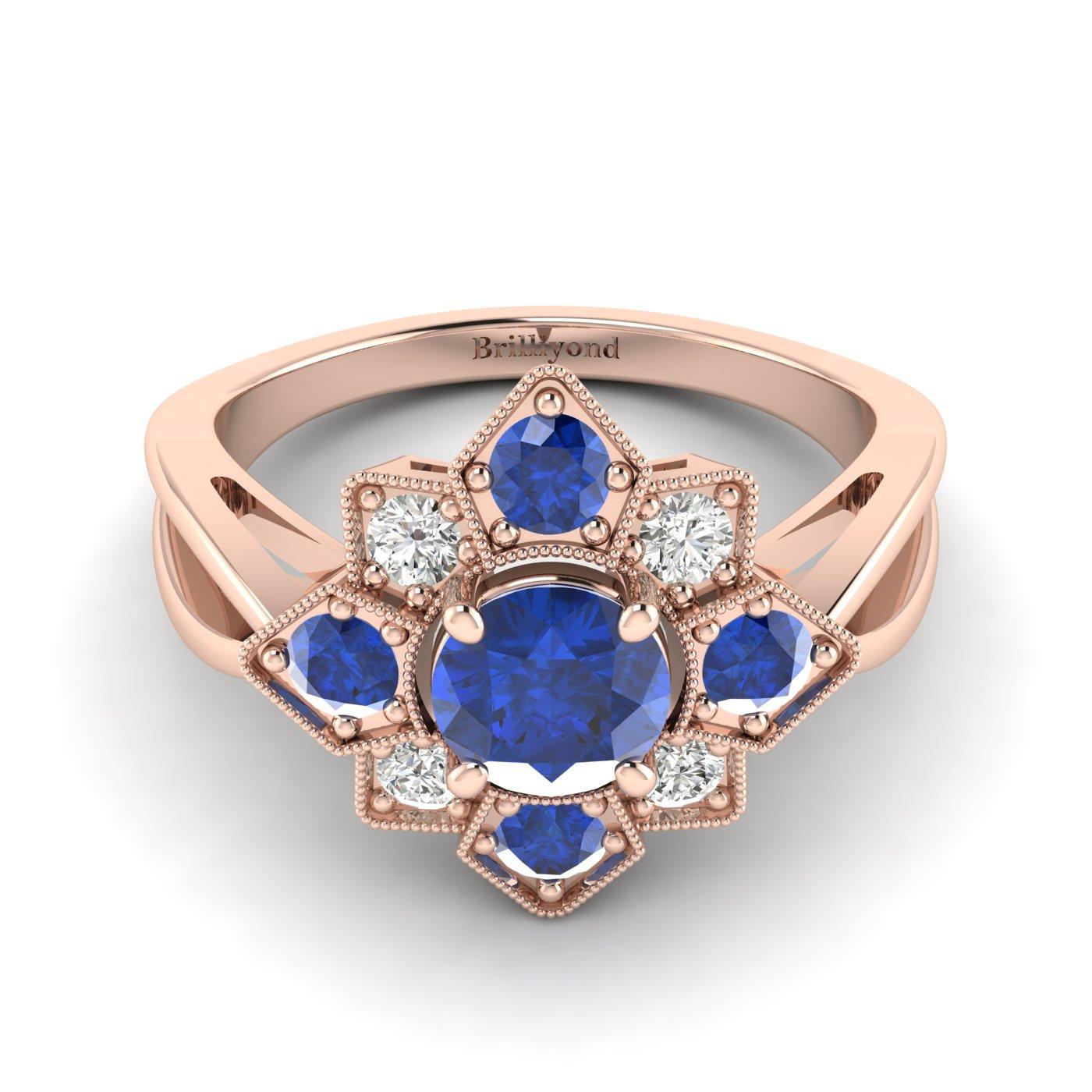 Blue Sapphire Rose Gold Cluster Engagement Ring Madonna_image2