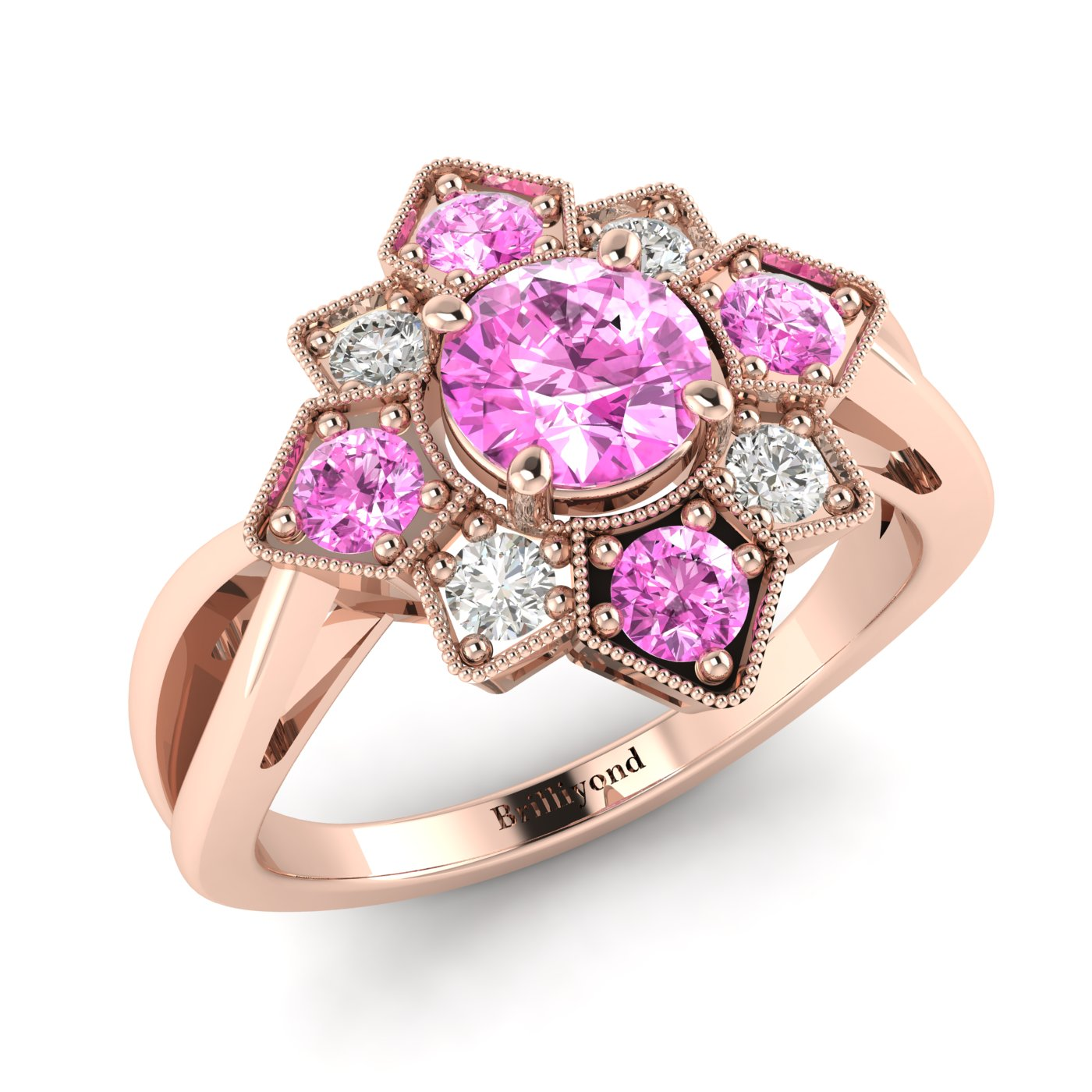 Pink Sapphire Rose Gold Cluster Engagement Ring Madonna