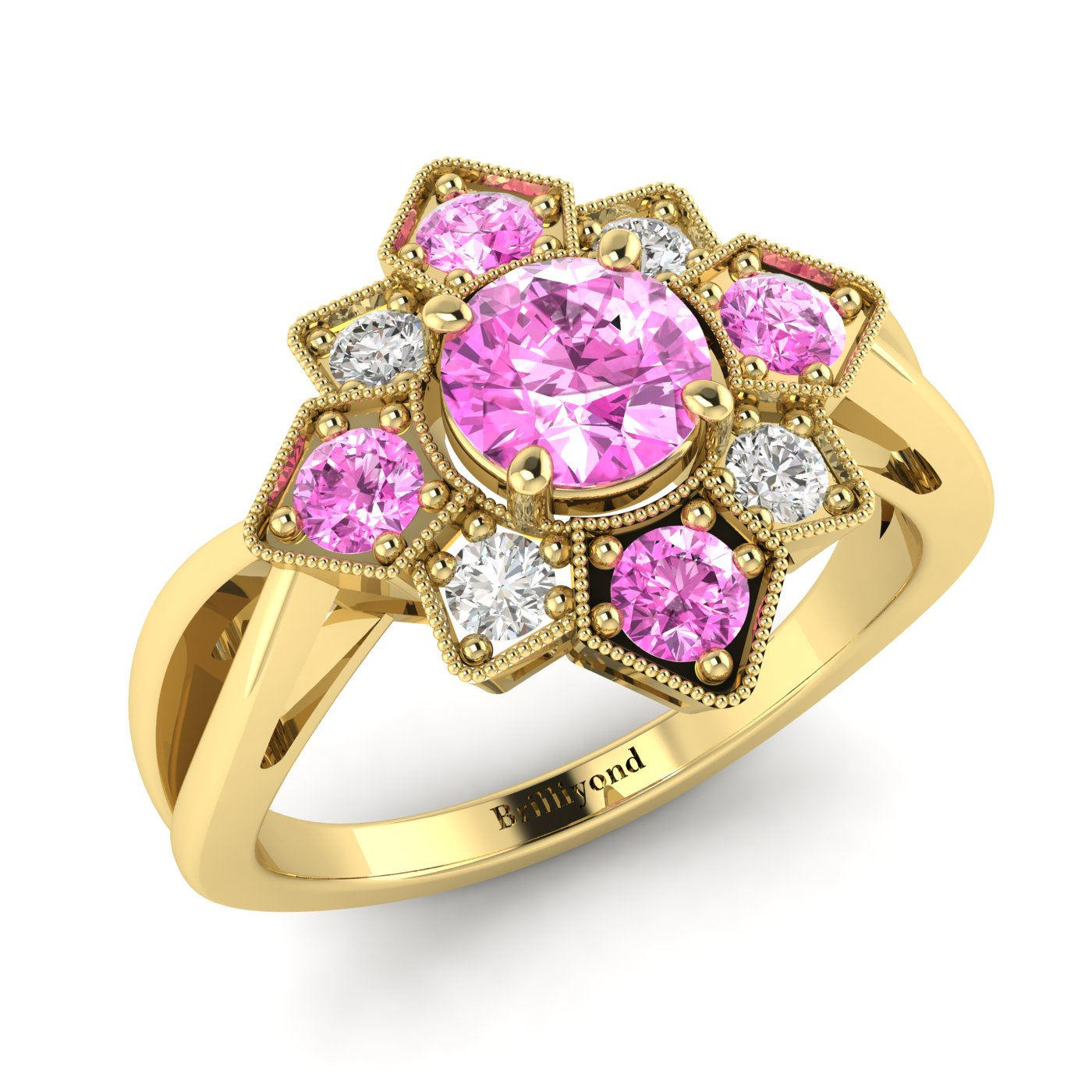 Pink Sapphire Yellow Gold Cluster Engagement Ring Madonna_image1