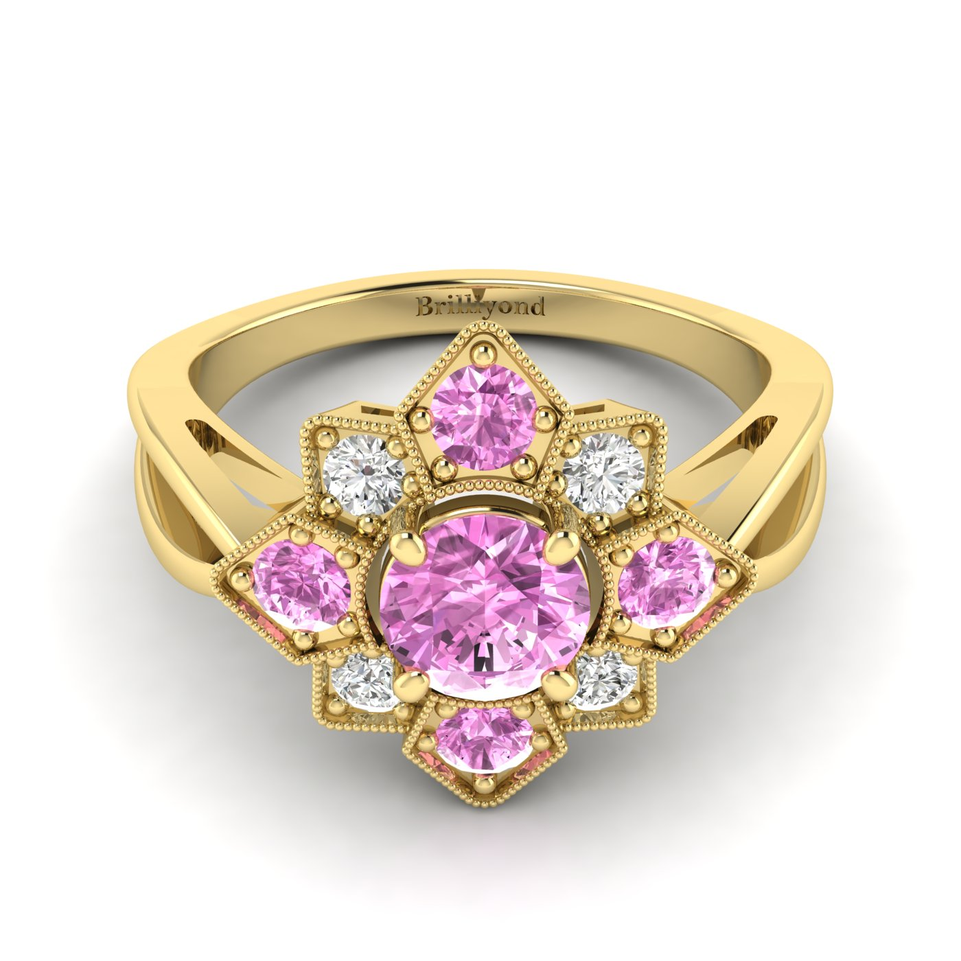 Pink Sapphire Yellow Gold Cluster Engagement Ring Madonna_image2