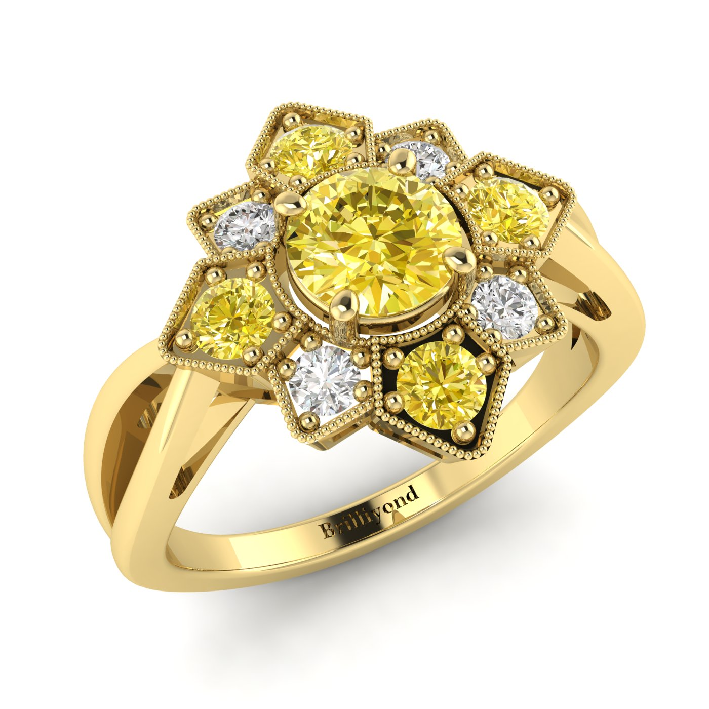 Yellow Sapphire Yellow Gold Cluster Engagement Ring Madonna