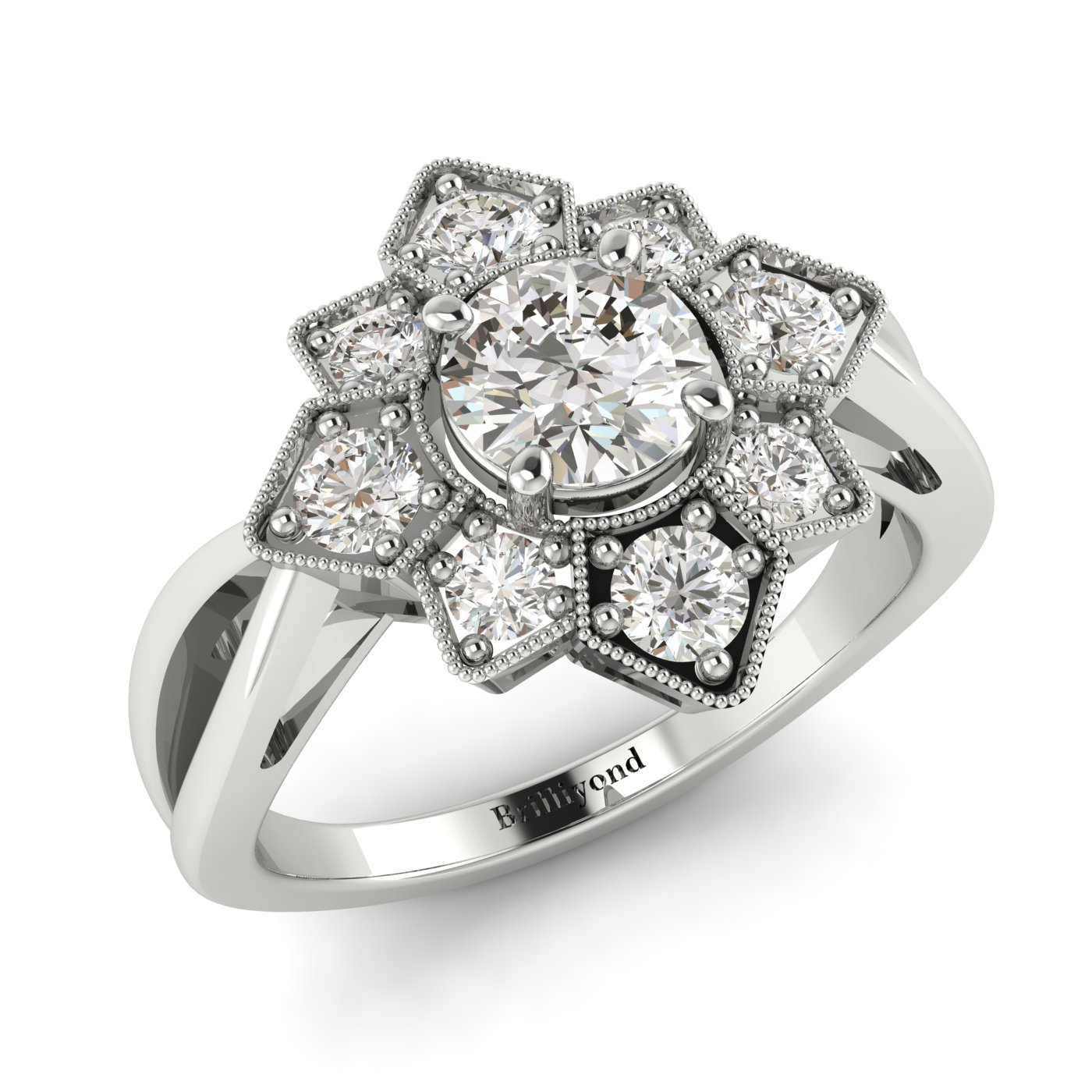 White Sapphire White Gold Cluster Engagement Ring Madonna_image1