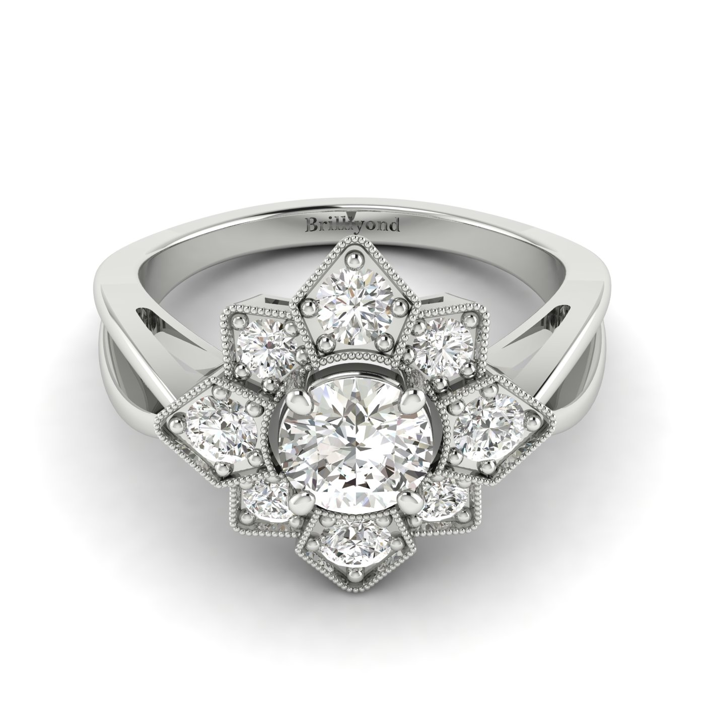 White Sapphire White Gold Cluster Engagement Ring Madonna_image2