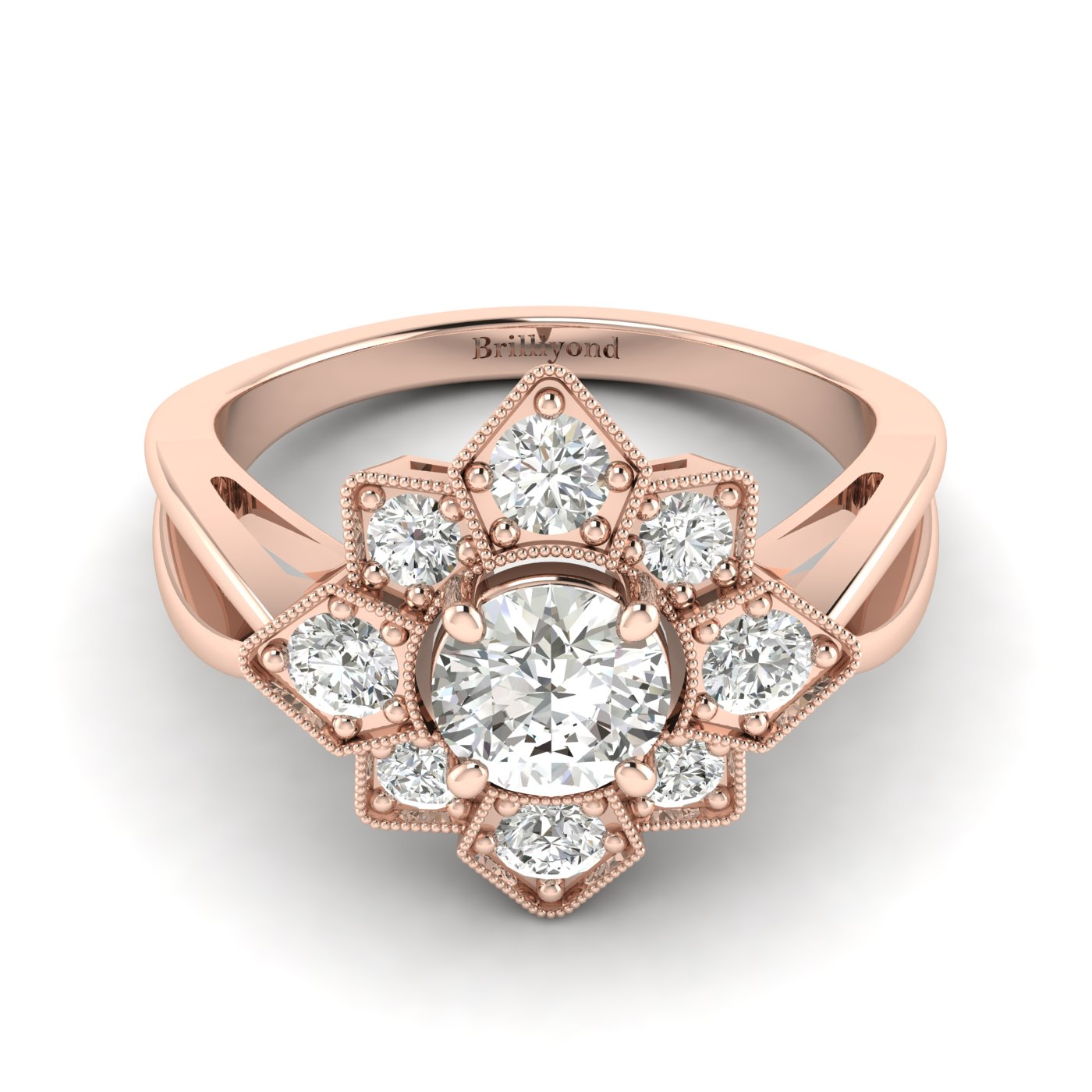 White Sapphire Rose Gold Cluster Engagement Ring Madonna_image1