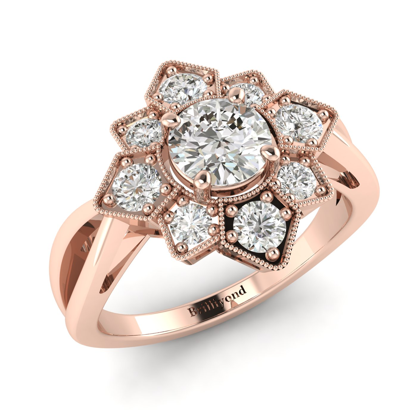 White Sapphire Rose Gold Cluster Engagement Ring Madonna_image2