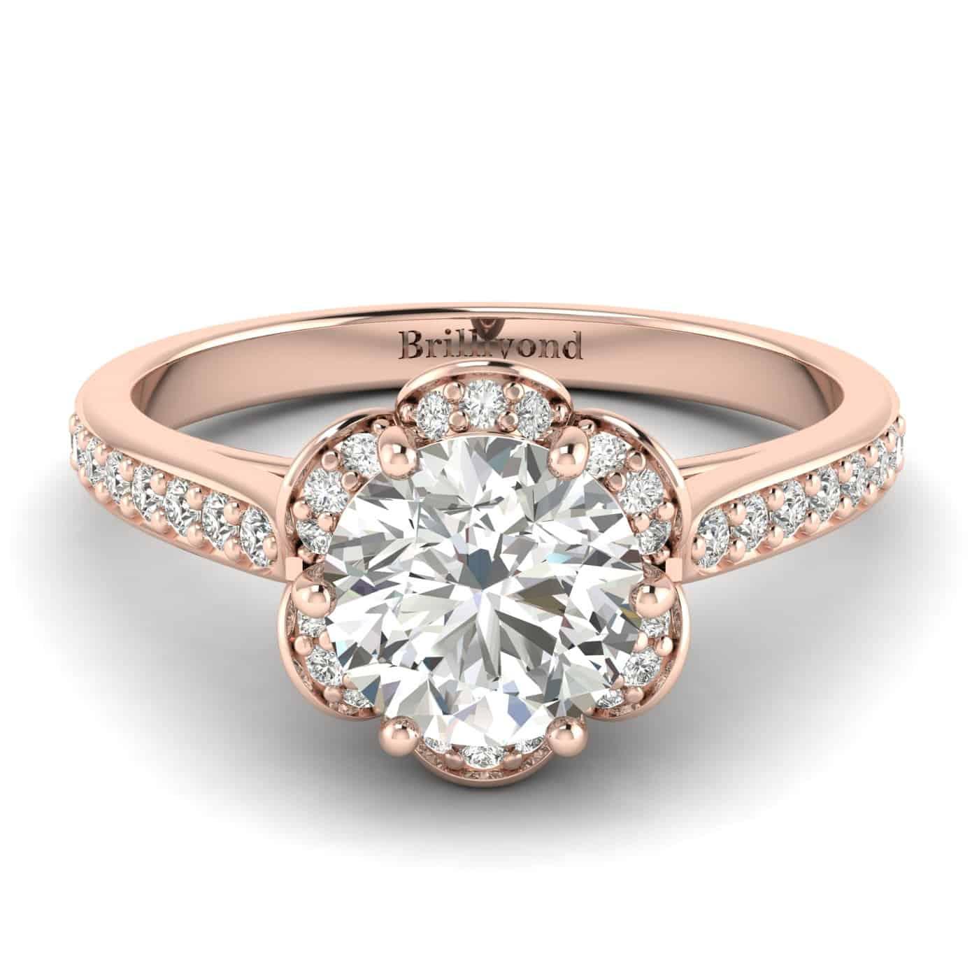 Diamond Rose Gold Brilliant Cut Engagement Ring Rosebud_image2