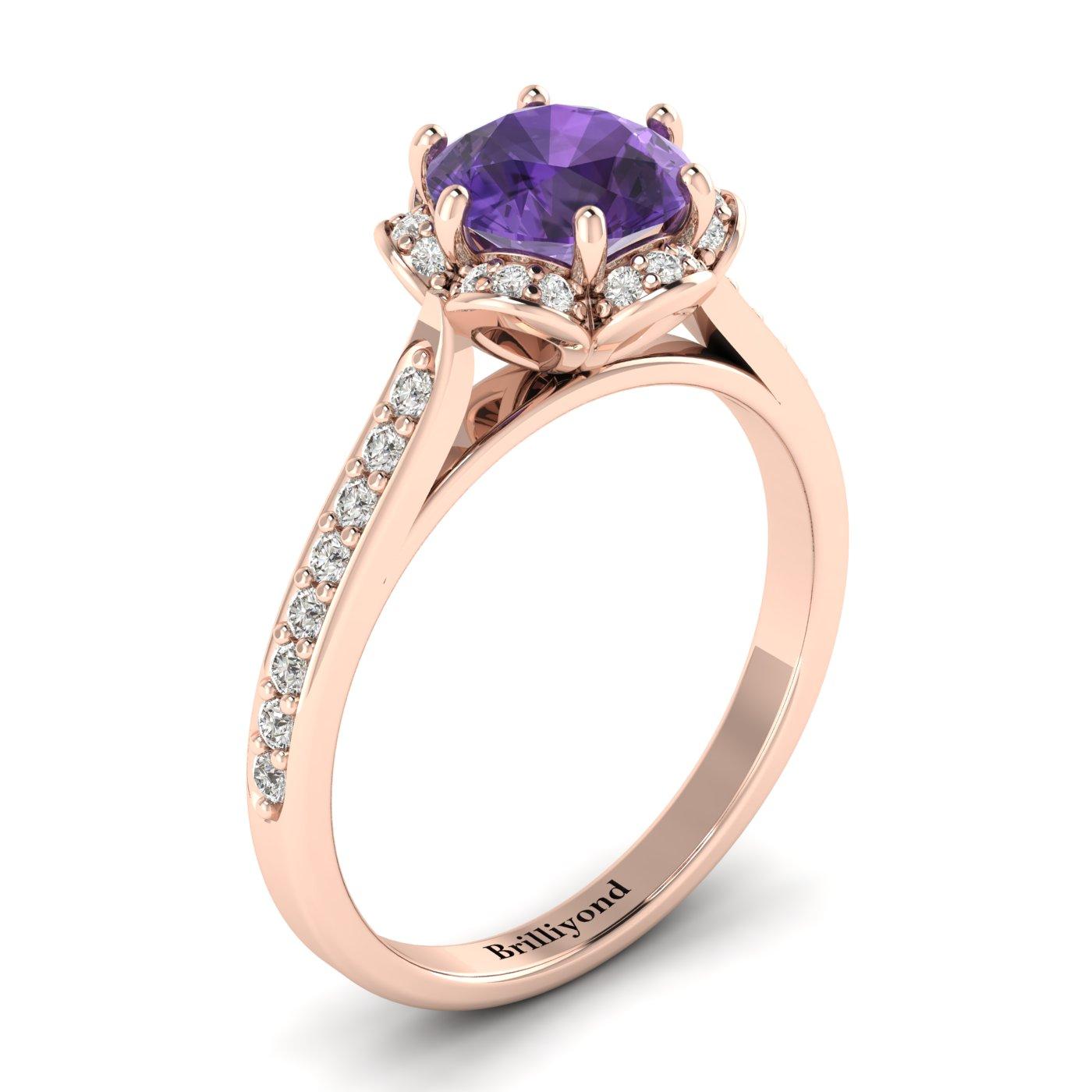 Amethyst Rose Gold Brilliant Cut Engagement Ring Rosebud_image2