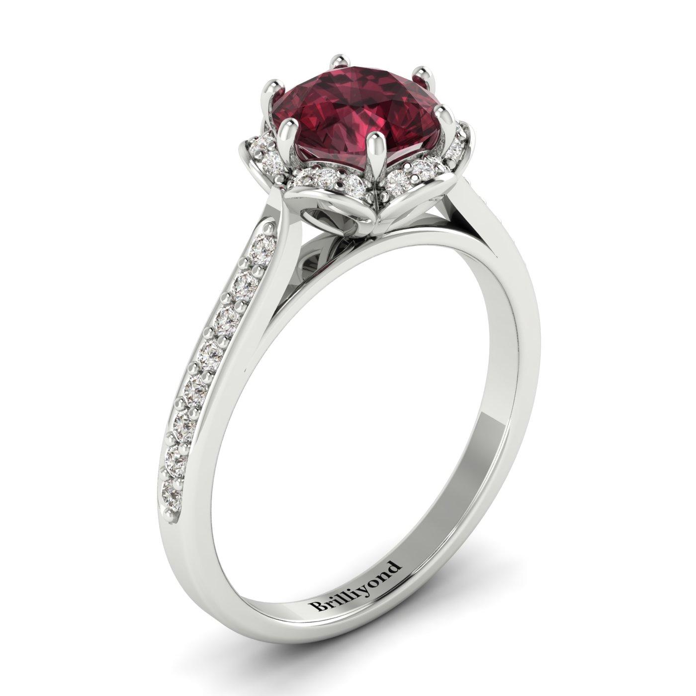 Garnet White Gold Brilliant Cut Engagement Ring Rosebud_image1