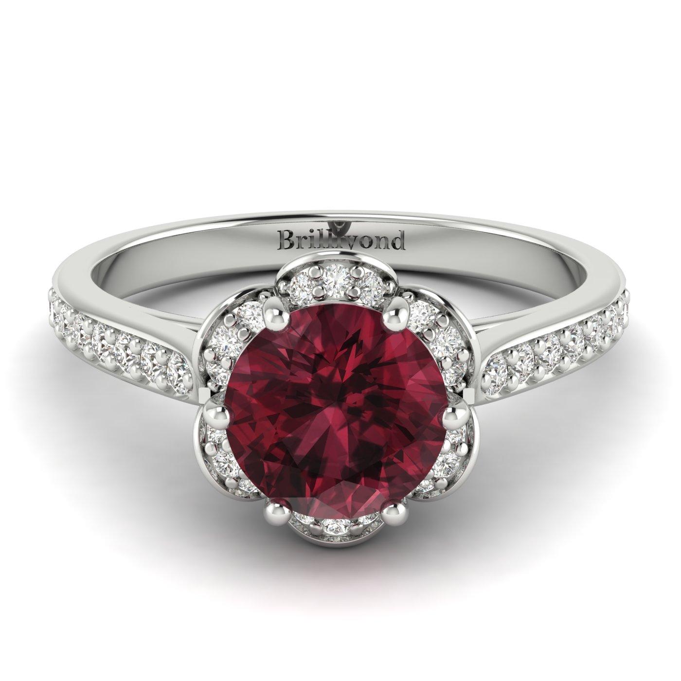 Garnet White Gold Brilliant Cut Engagement Ring Rosebud_image2