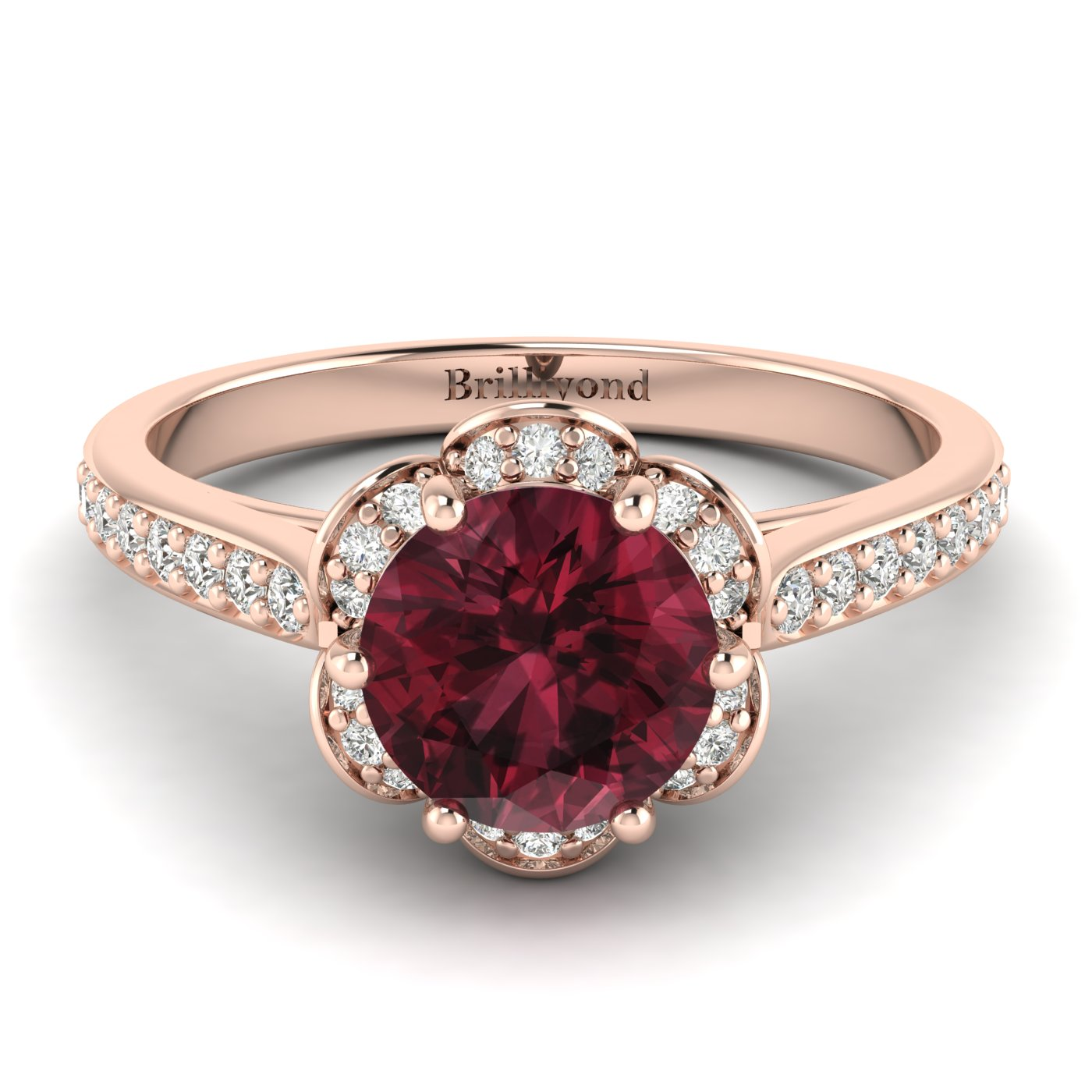 Garnet Rose Gold Brilliant Cut Engagement Ring Rosebud_image1
