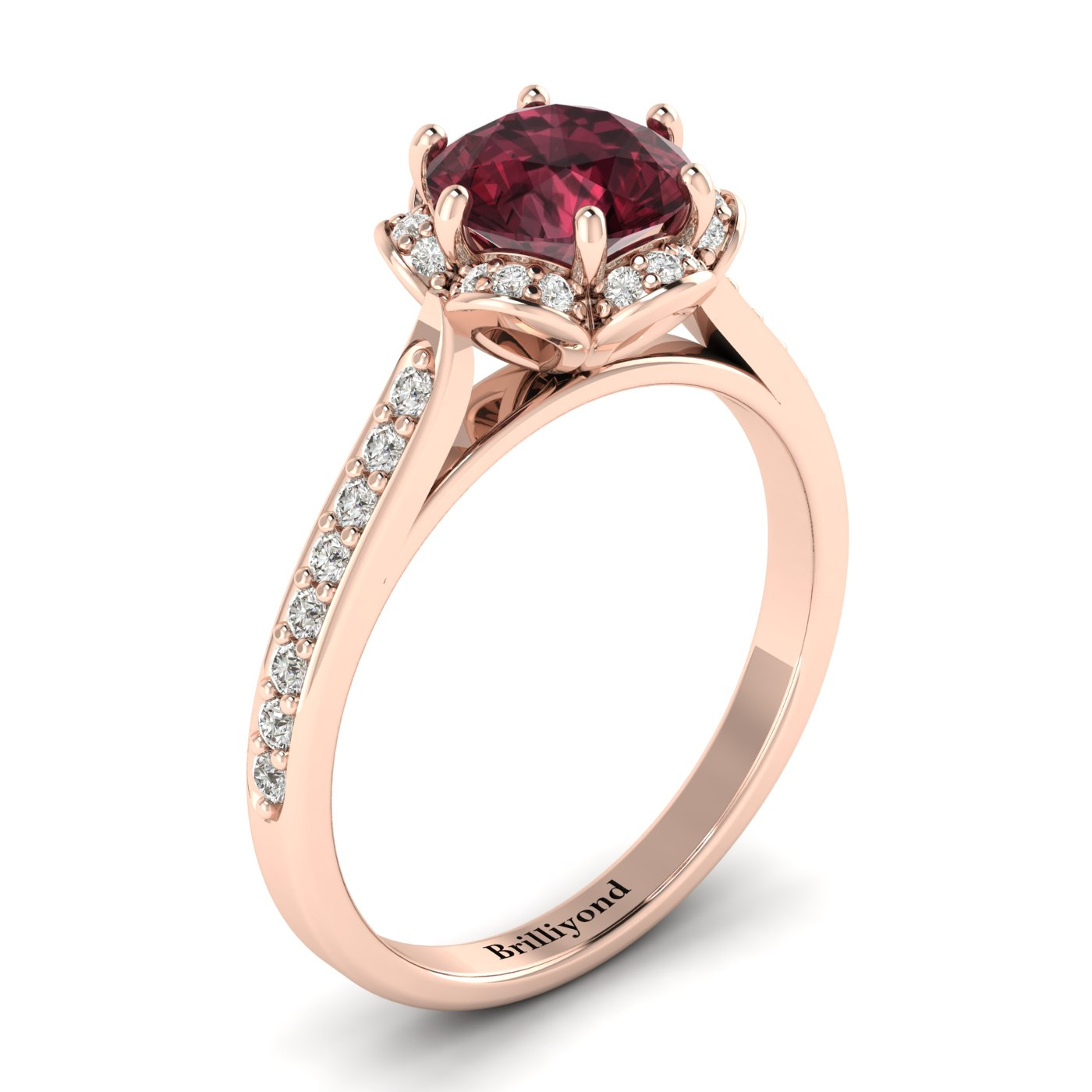 Garnet Rose Gold Brilliant Cut Engagement Ring Rosebud_image2