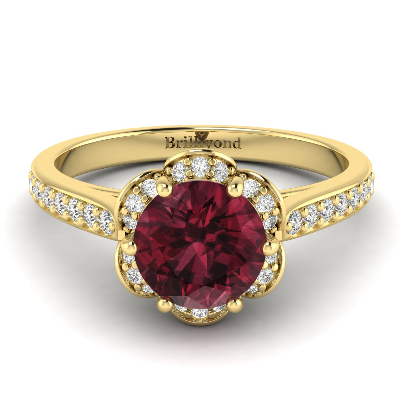 Garnet Yellow Gold Brilliant Cut Engagement Ring Rosebud_image2