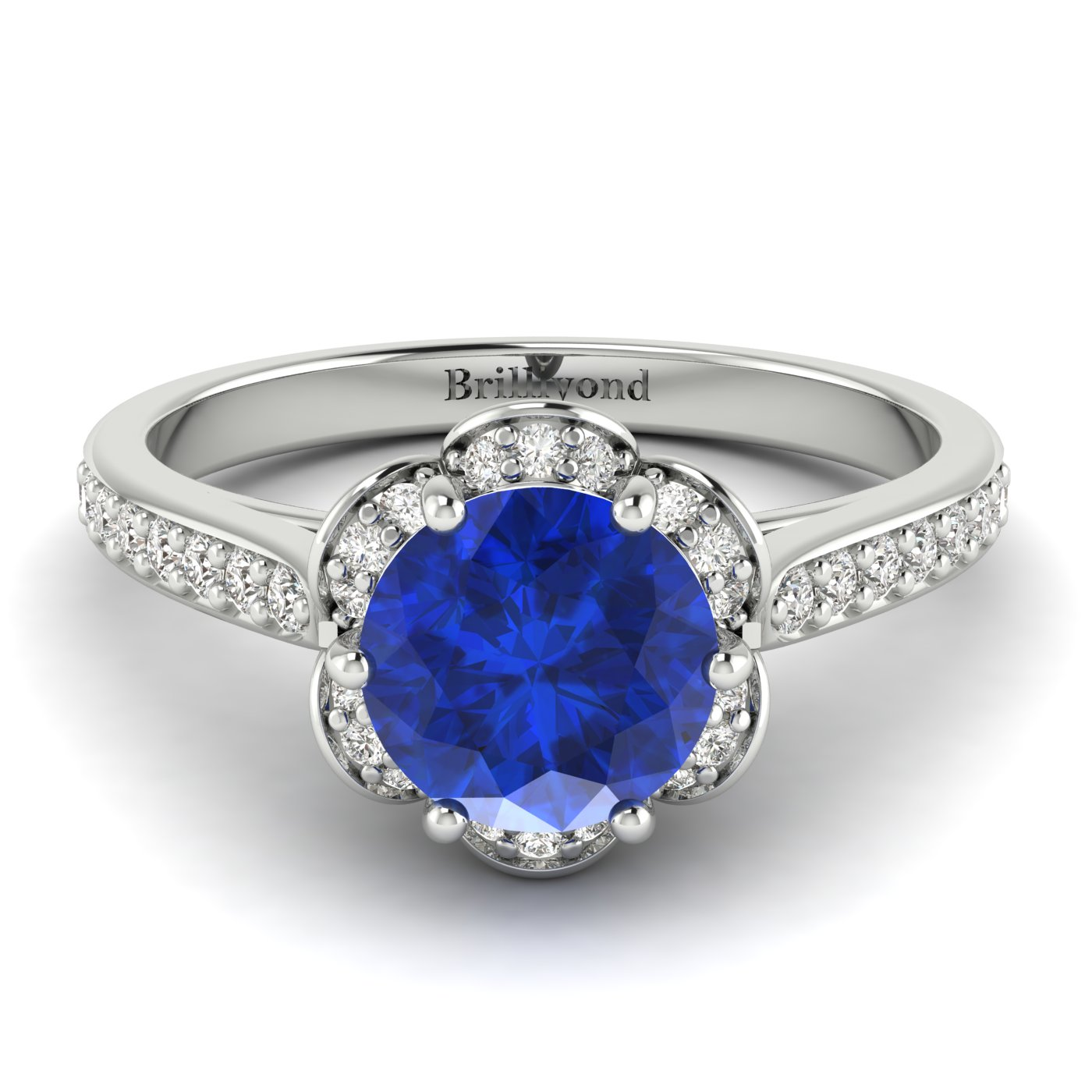 Blue Sapphire White Gold Brilliant Cut Engagement Ring Rosebud_image1